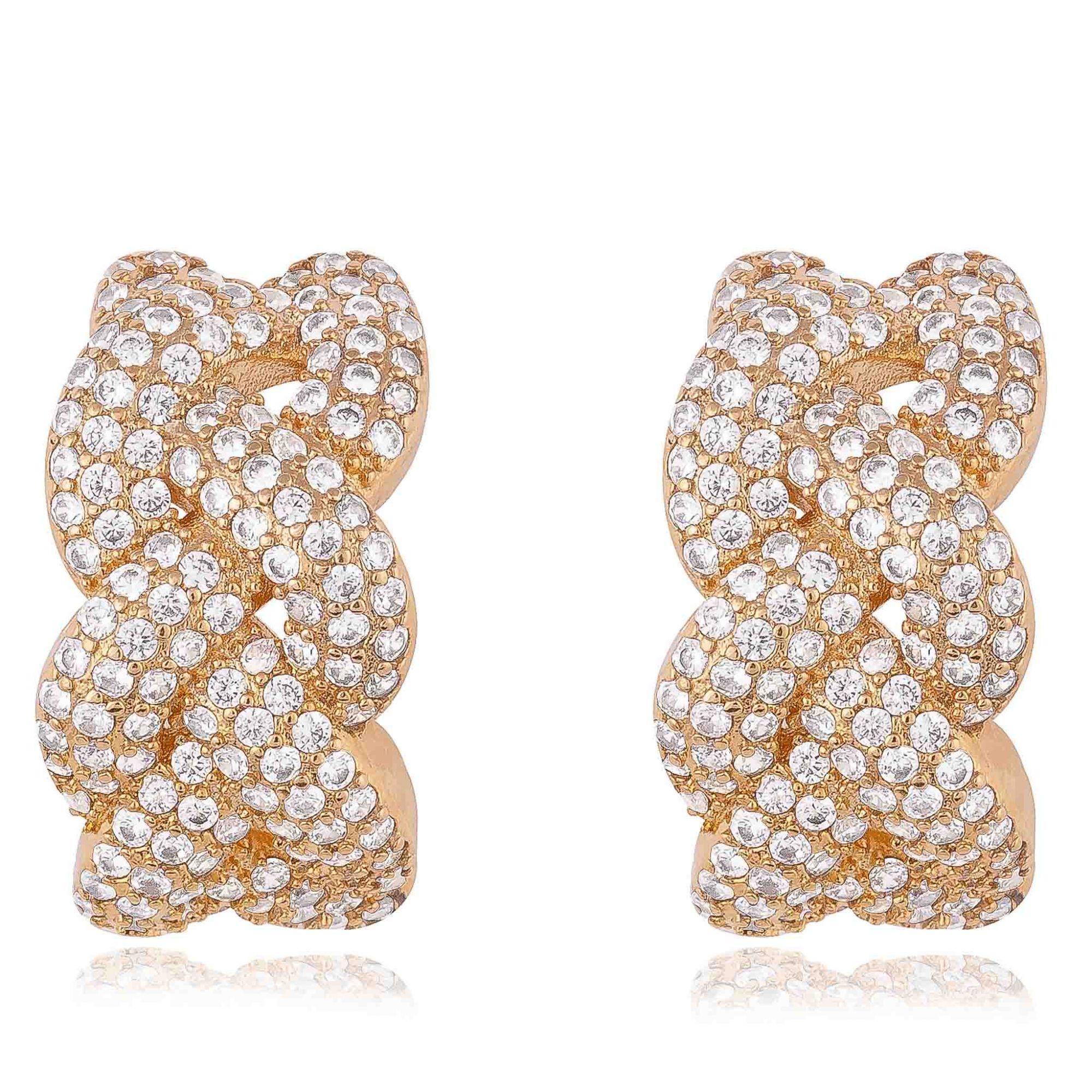 Brinco com micro zircônias cristais banhado a ouro 18k.  - romabrazil.com.br