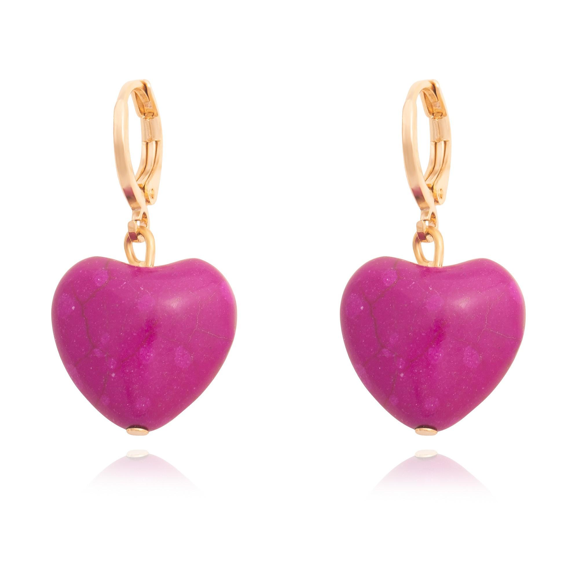 Brinco coração Howlita roxo  - romabrazil.com.br