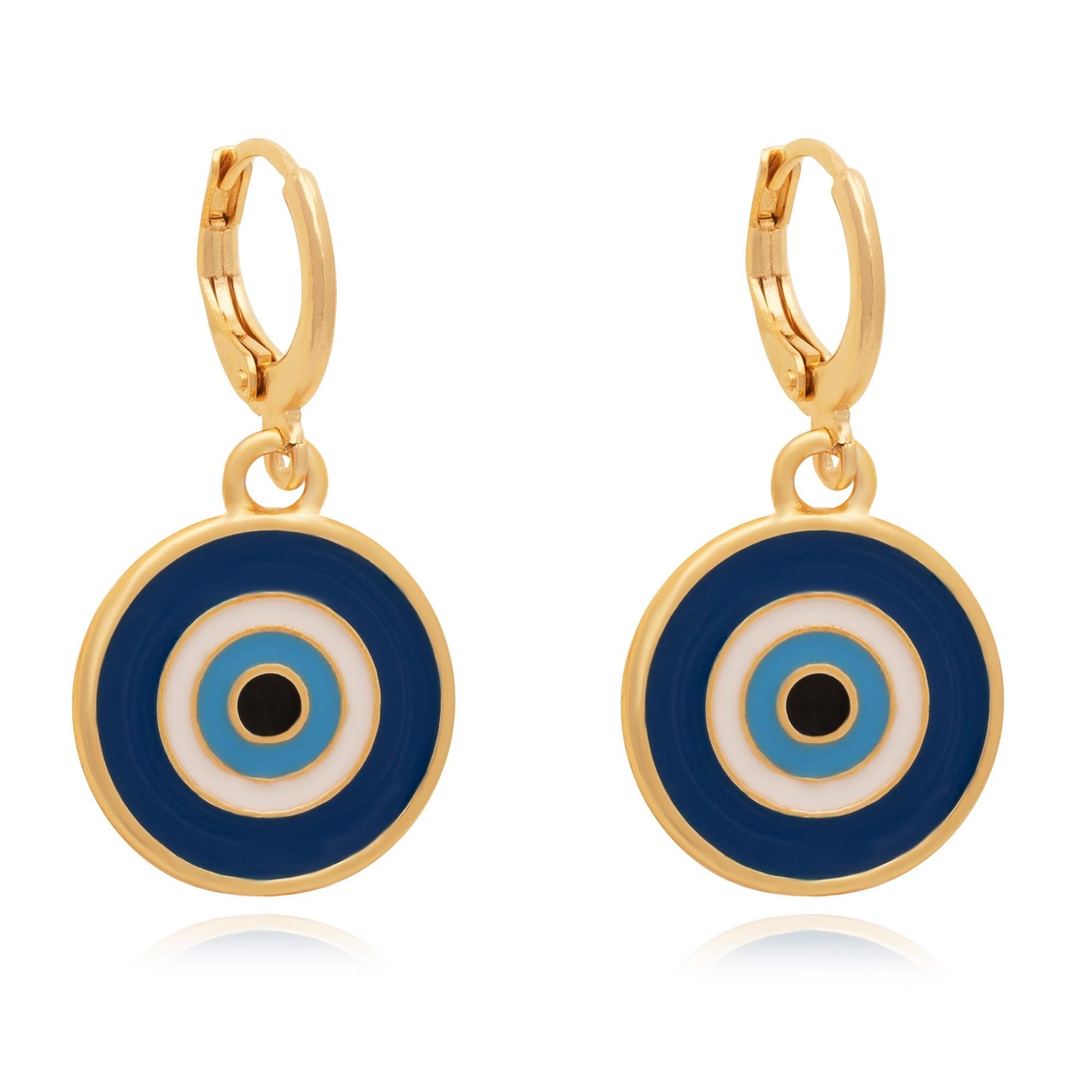 Brinco de argola olho grego resinado em azul banhado à 18k.  - bfdecor.com.br