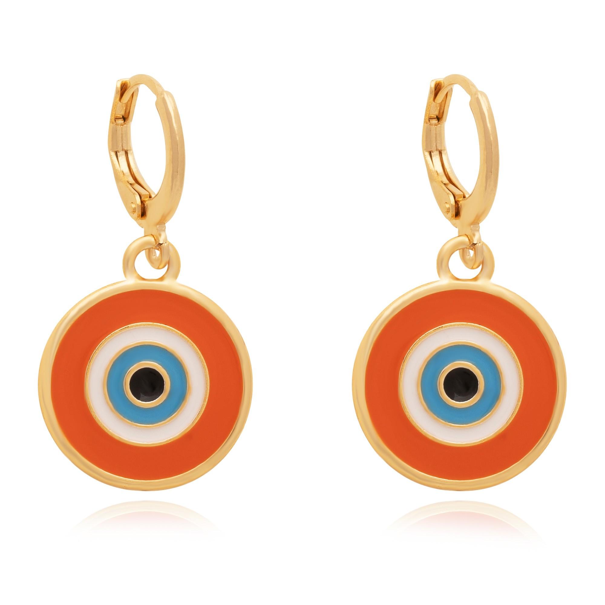 Brinco de argola olho grego resinado em laranja banhado à 18k.  - romabrazil.com.br