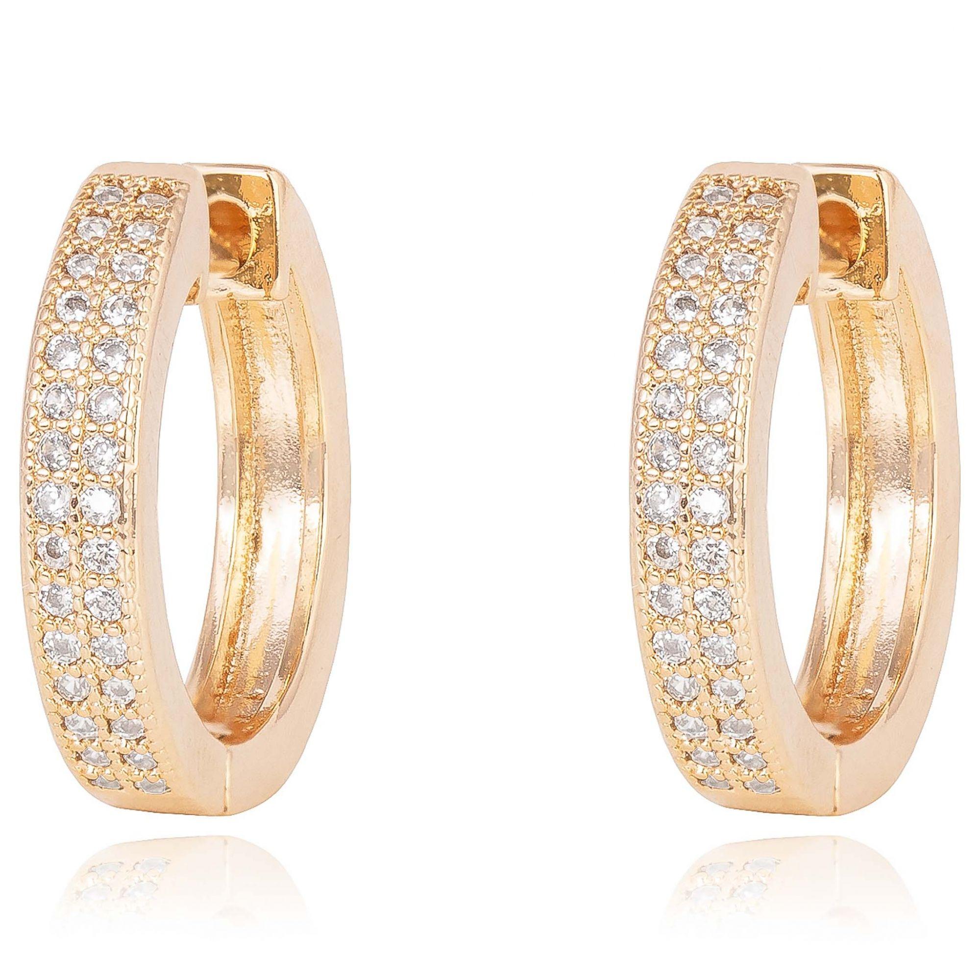Brinco de argolas com micro zircônias cristais banhado a ouro 18k.  - romabrazil.com.br