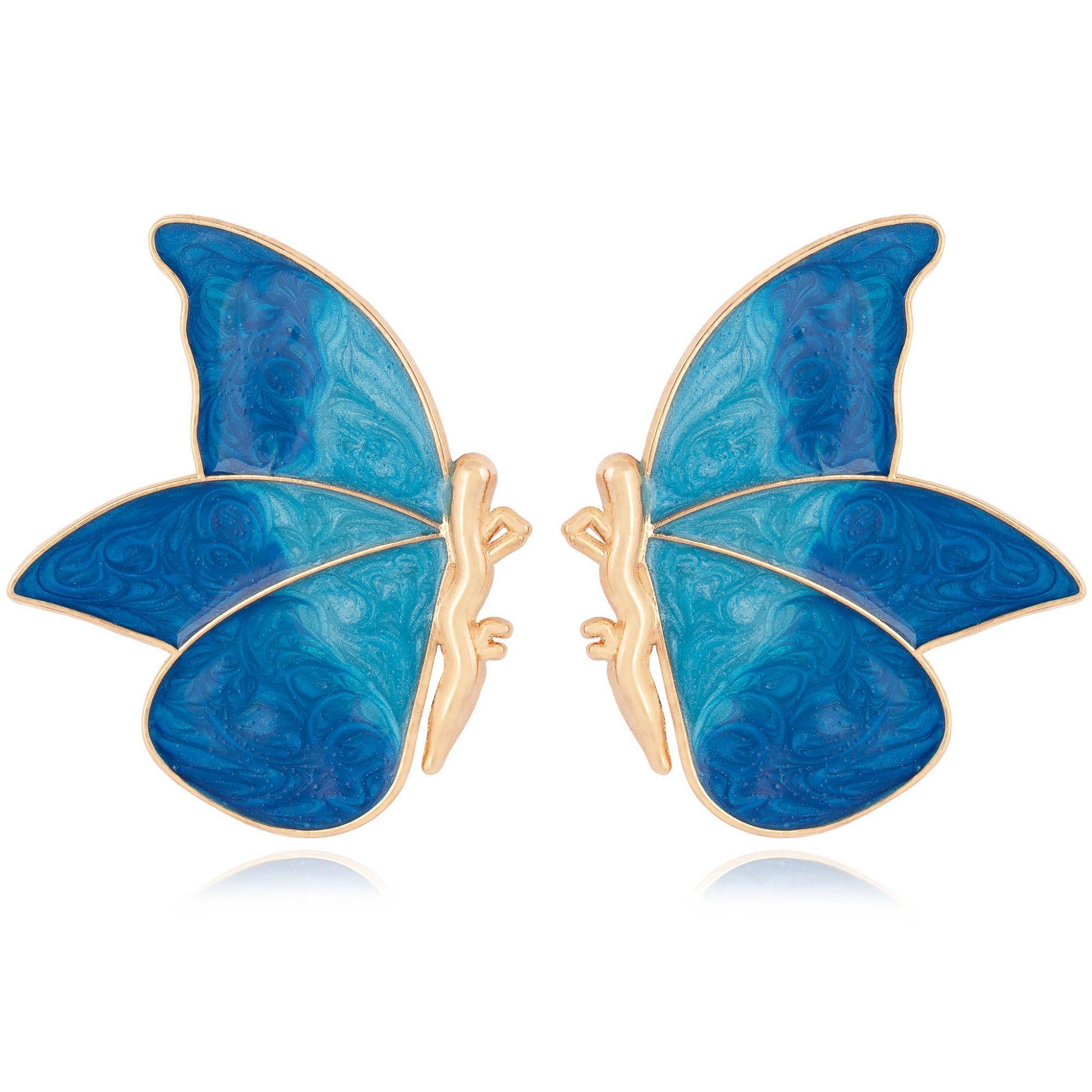 Brinco borboleta banhado a ouro 18k resinado em azul.