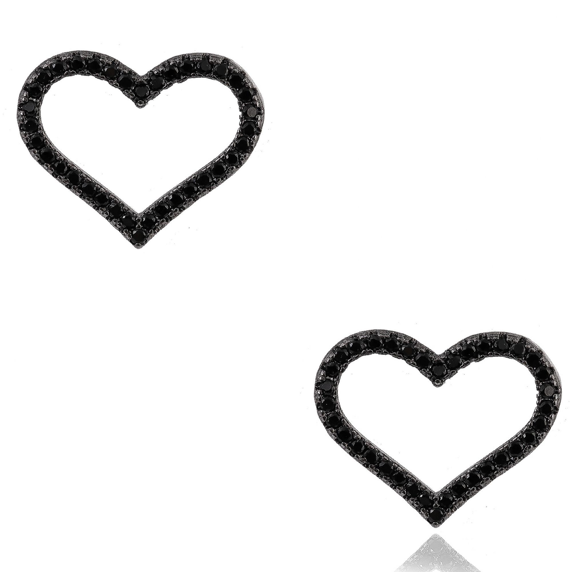 Brinco de coração com micro zircônias negras banho de grafite.  - romabrazil.com.br