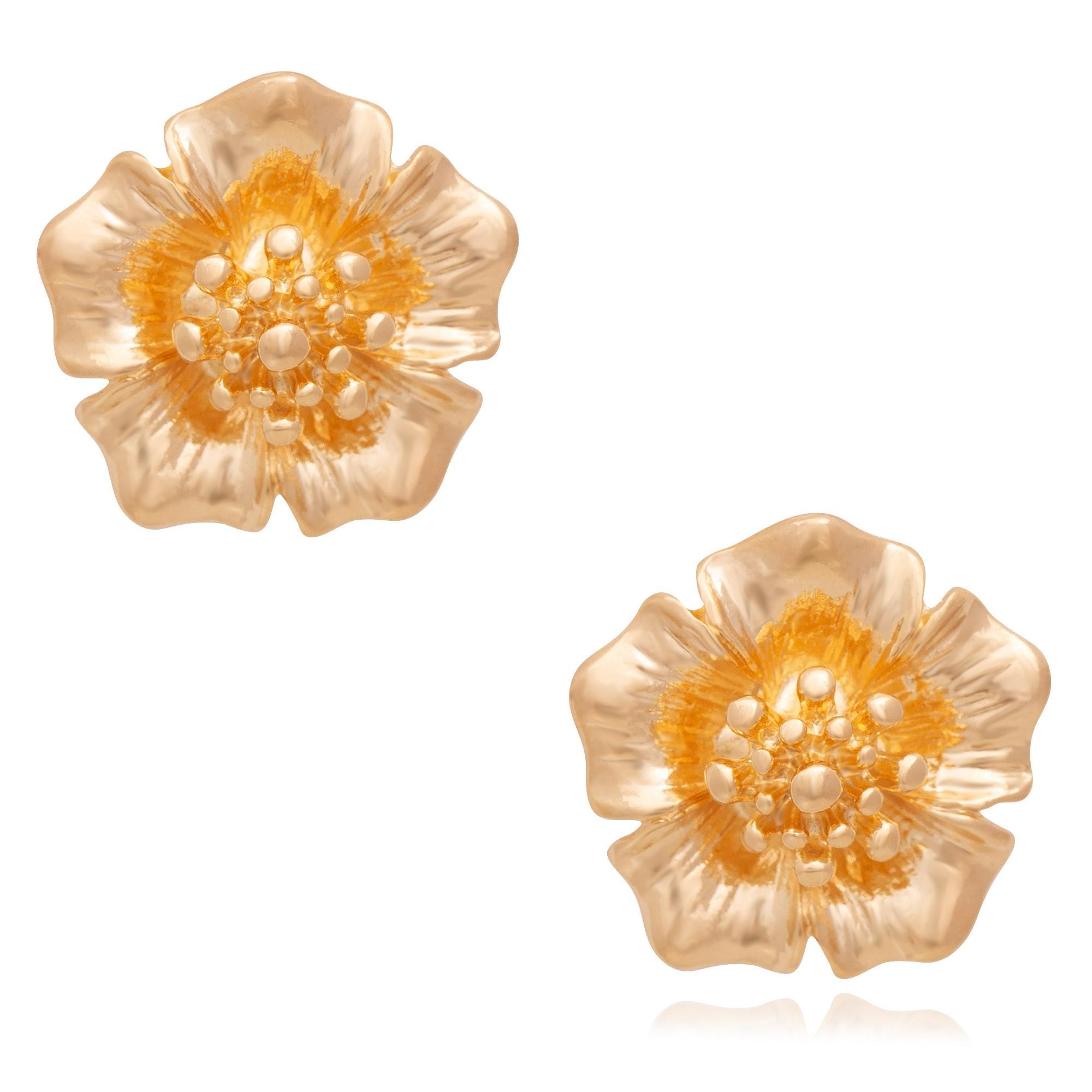 Brinco de flor banhado a ouro 18K  - romabrazil.com.br