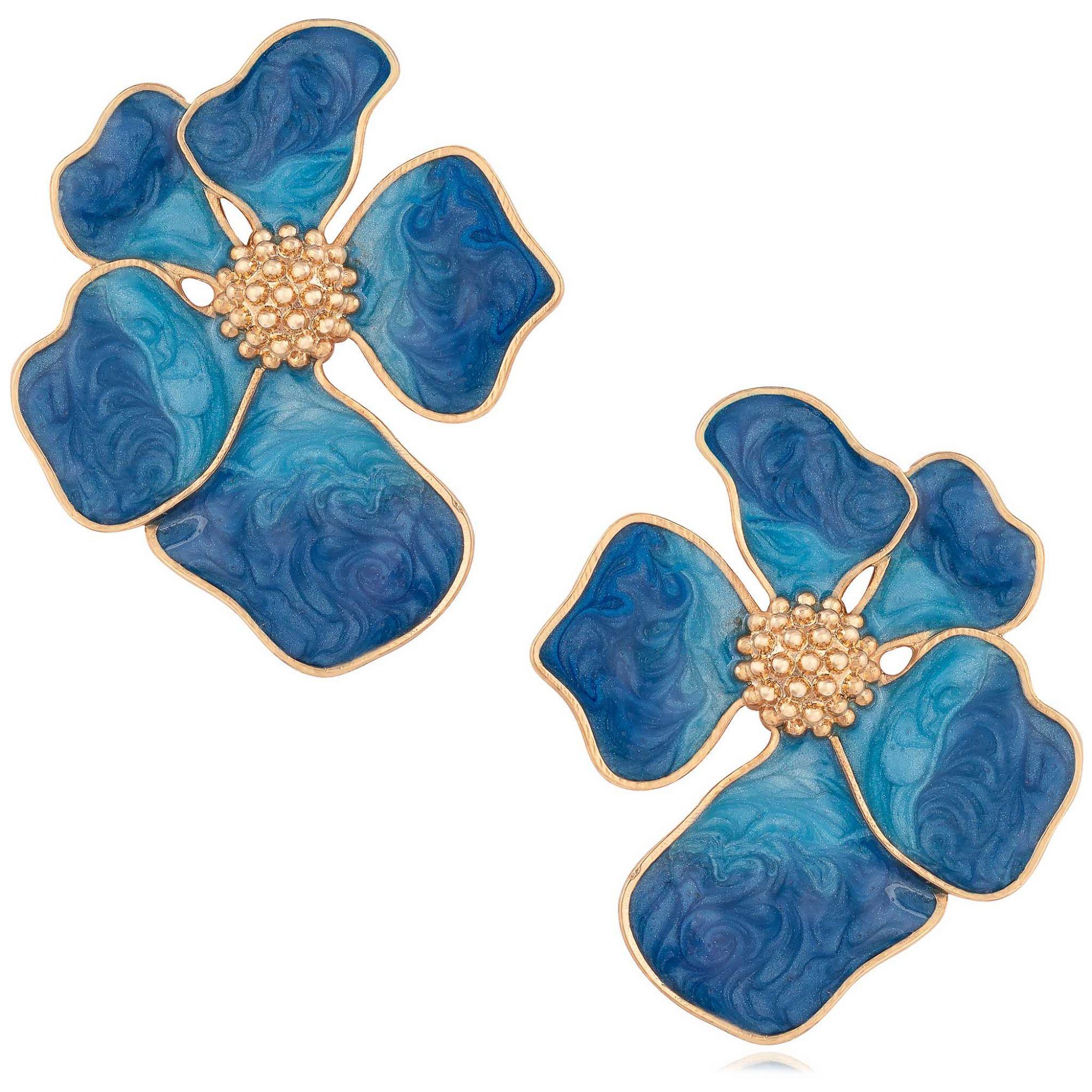 Brinco de flor banhado a ouro 18k com aplique resinado em azul.  - romabrazil.com.br