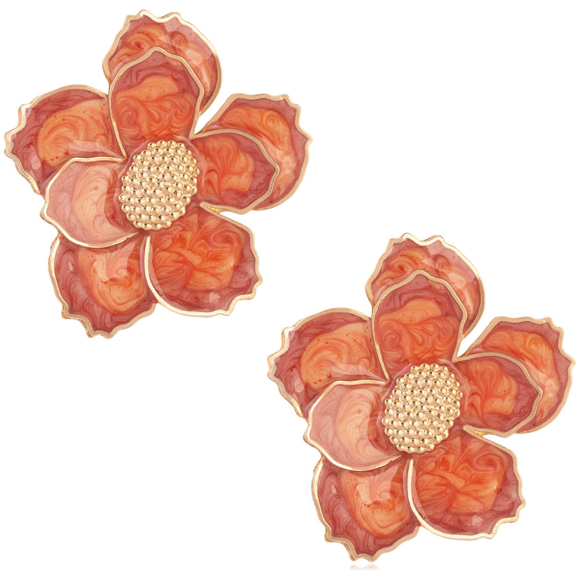 Brinco de flor banhado a ouro 18k com aplique resinado em tons de laranja.  - romabrazil.com.br