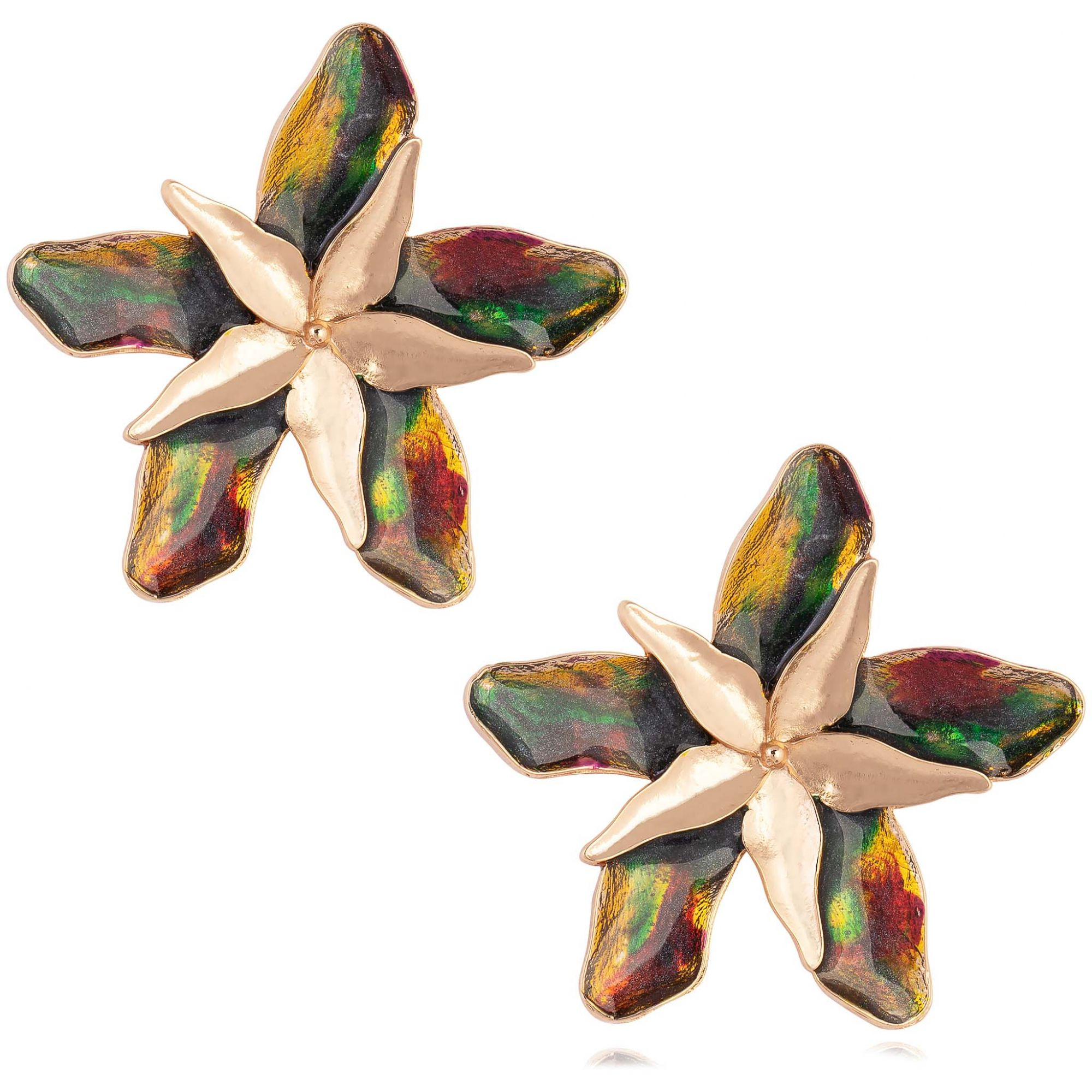 Brinco de flor banhado a ouro 18k resinado em multi color.  - romabrazil.com.br