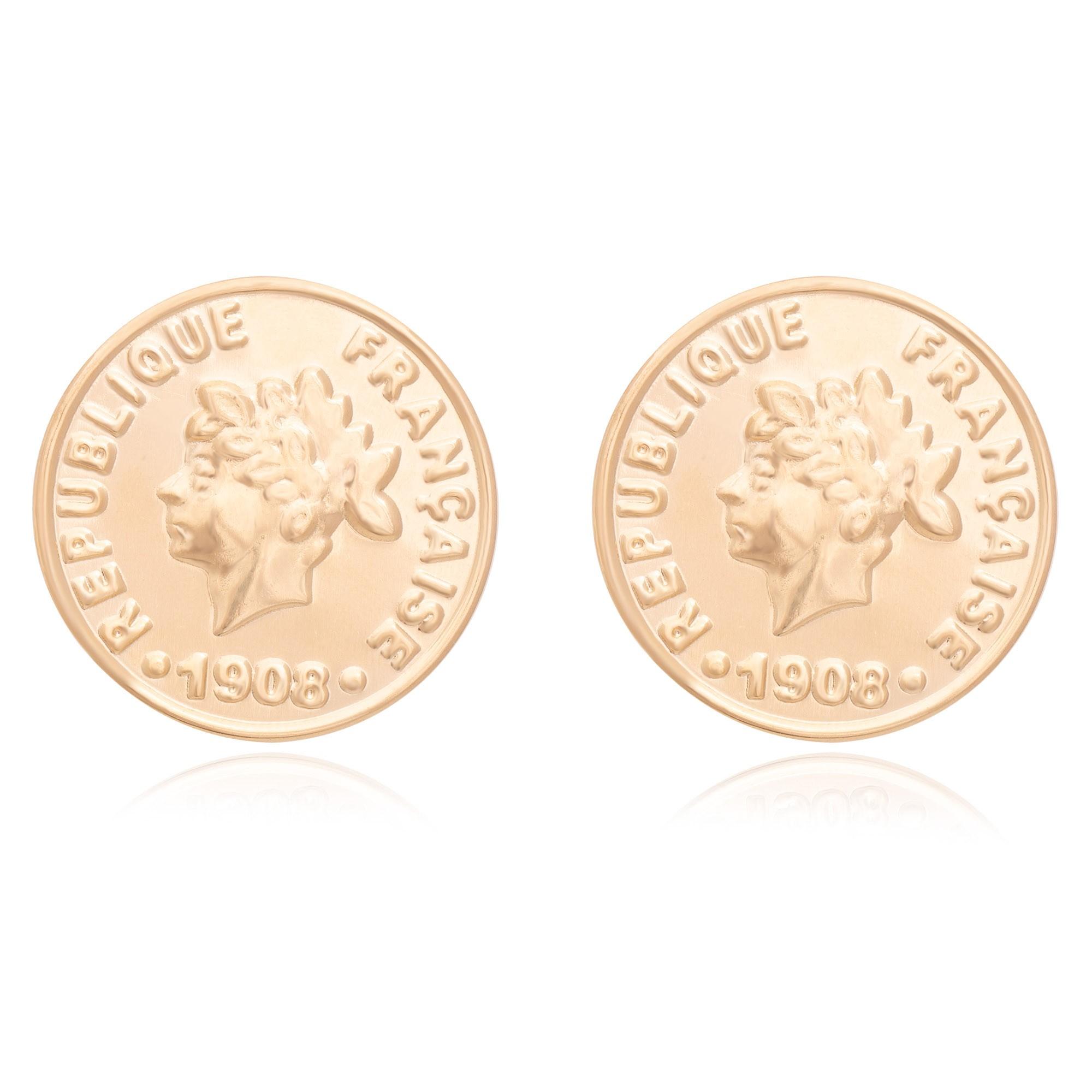 Brinco de moeda banhado a ouro 18K  - romabrazil.com.br
