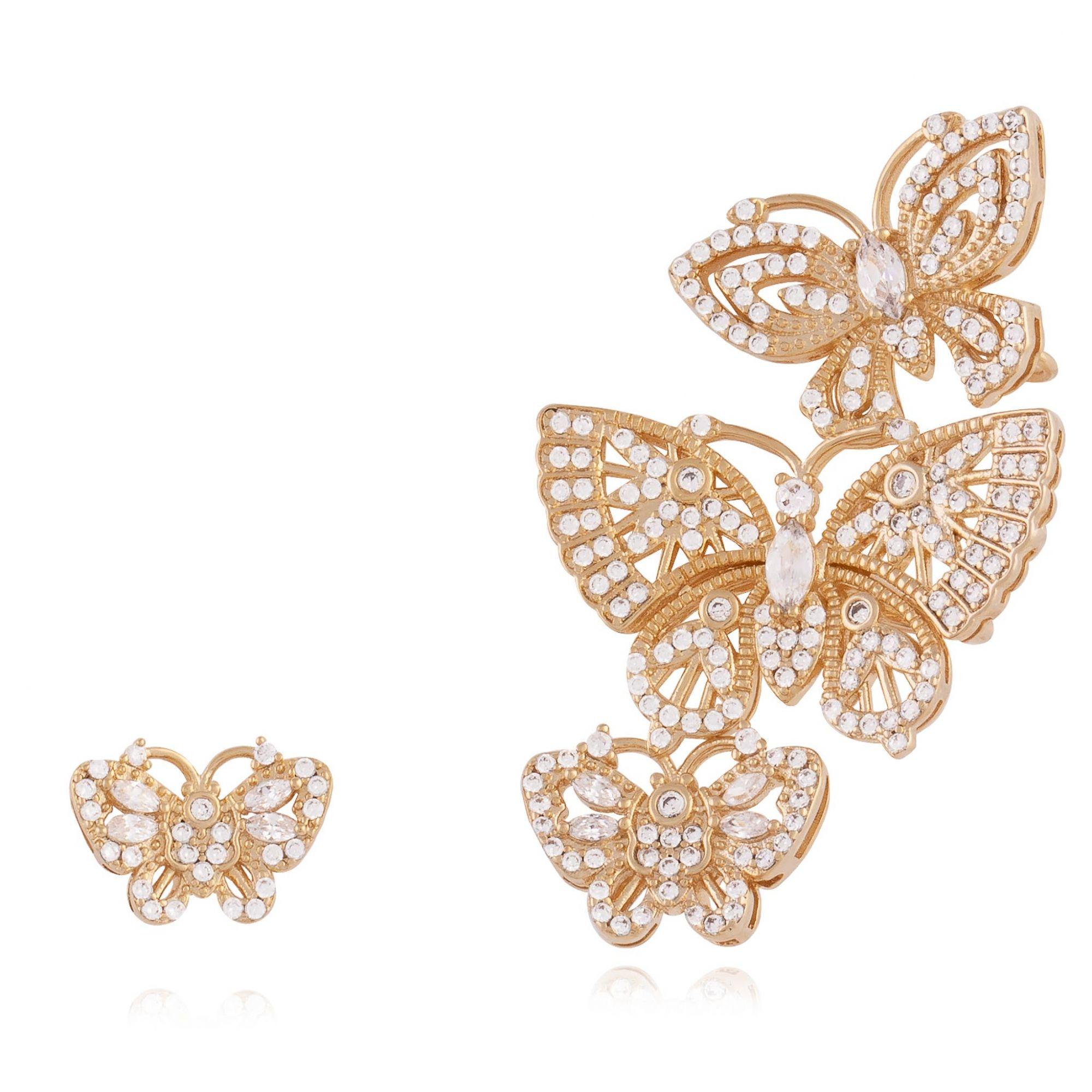 Brinco ear cuff com micro zircônias cristais banhado a ouro 18k.  - romabrazil.com.br