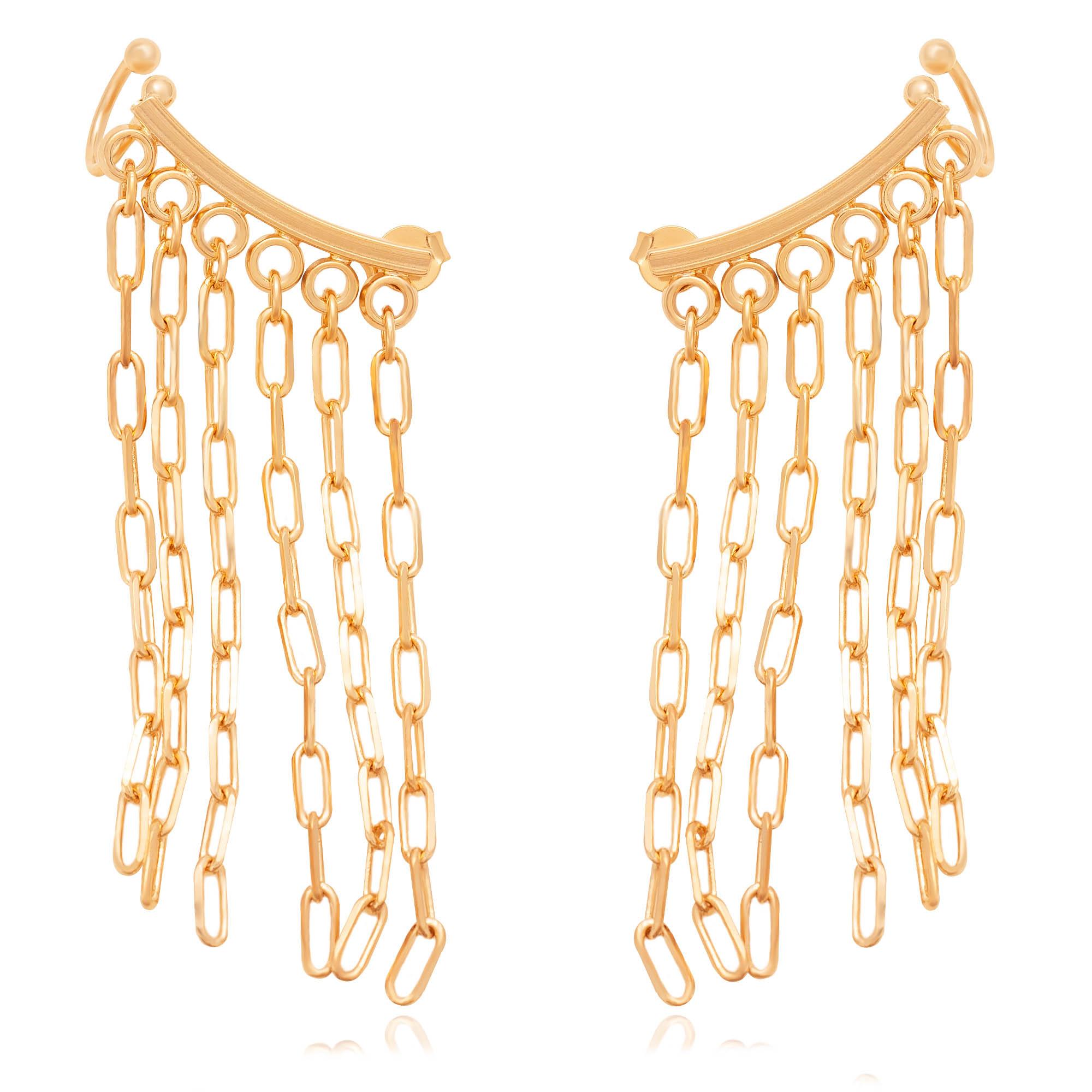 Brinco ear cuff de correntes banhado a ouro 18k  - romabrazil.com.br