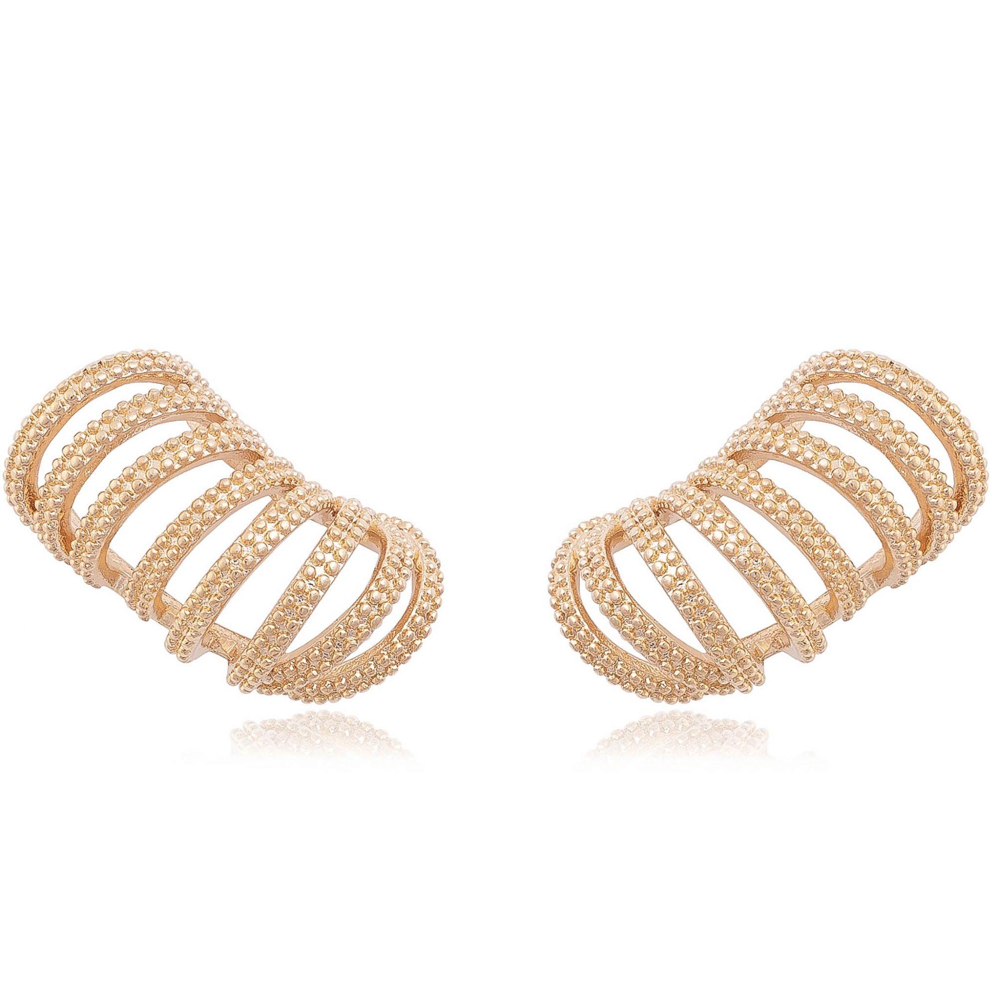 Brinco ear cuff banhado a ouro 18k.  - romabrazil.com.br