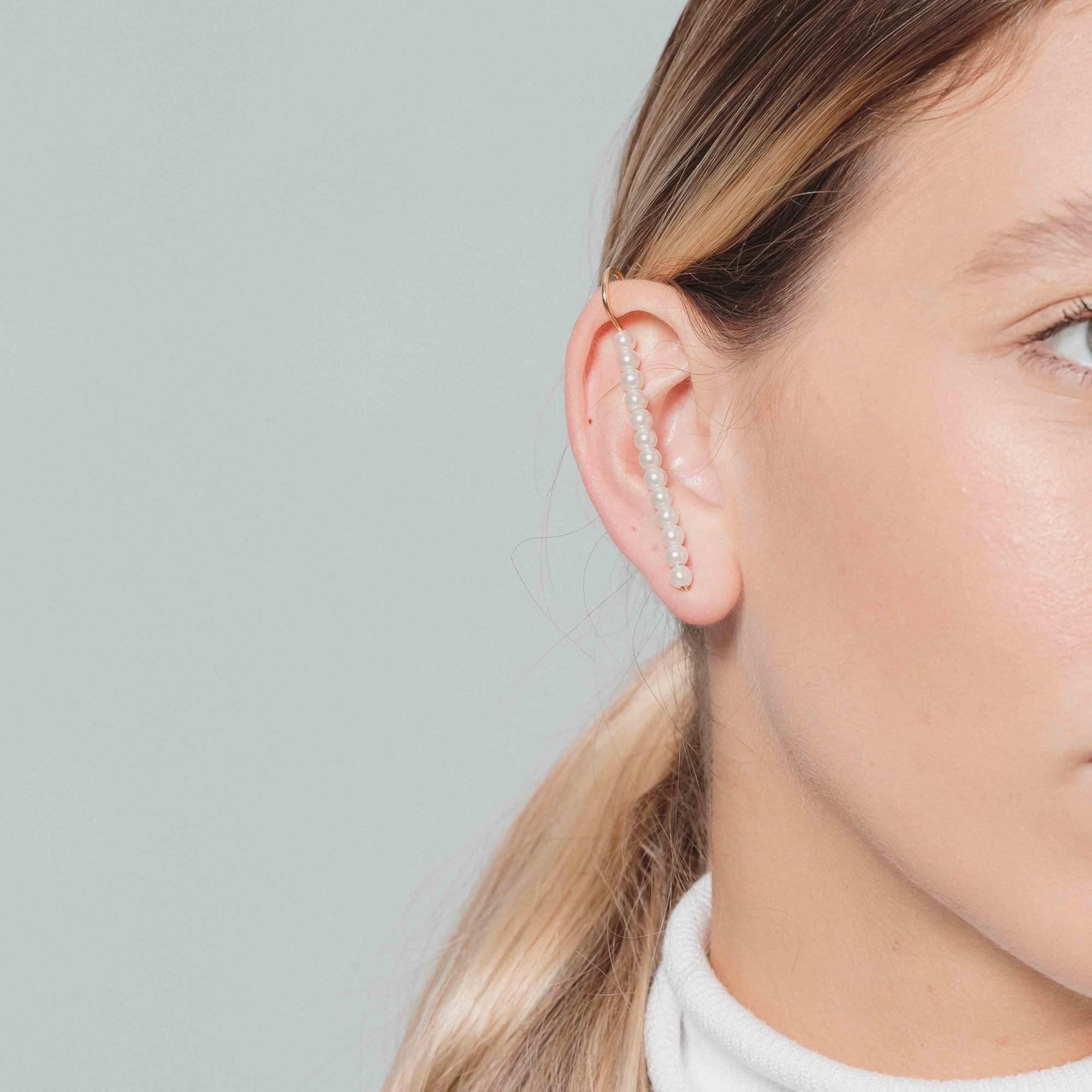 Brinco ear cuff pérolas banhado a ouro 18k  - bfdecor.com.br