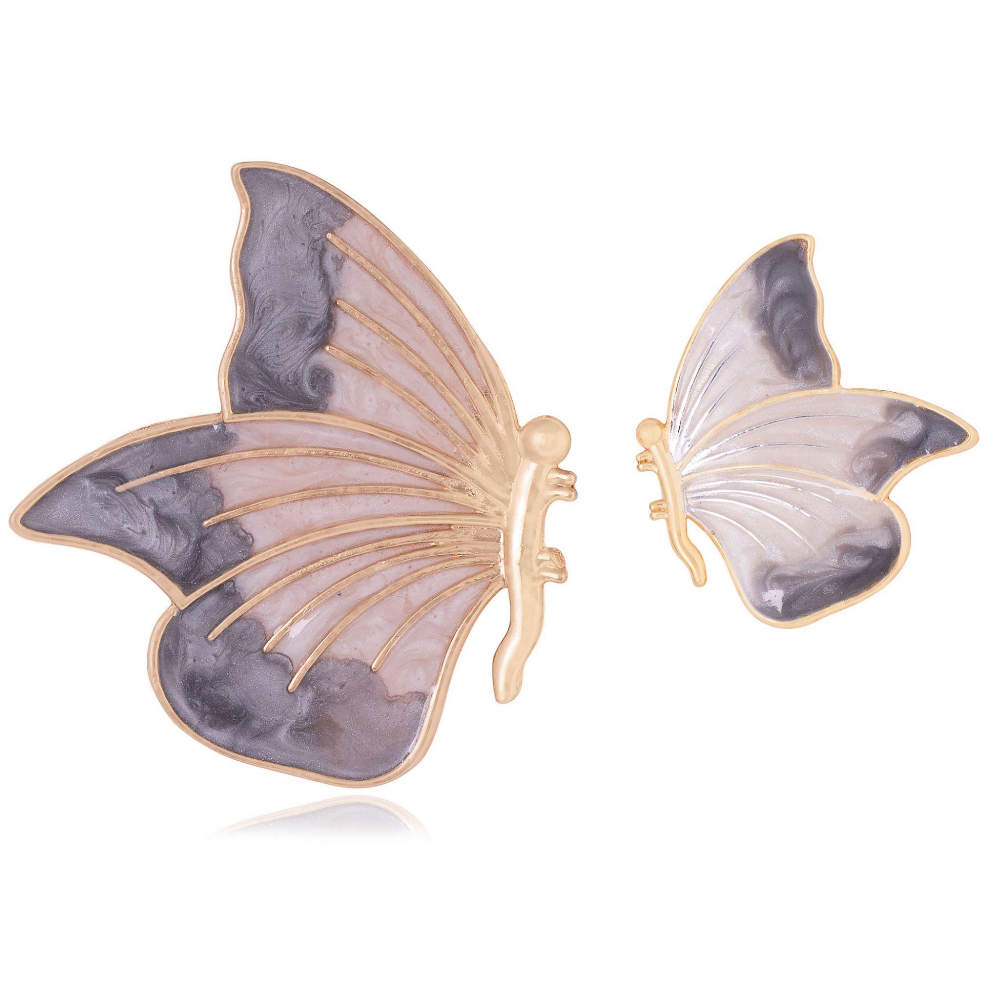 Brinco borboleta banhado a ouro 18k resinado em tons de cinza.  - romabrazil.com.br