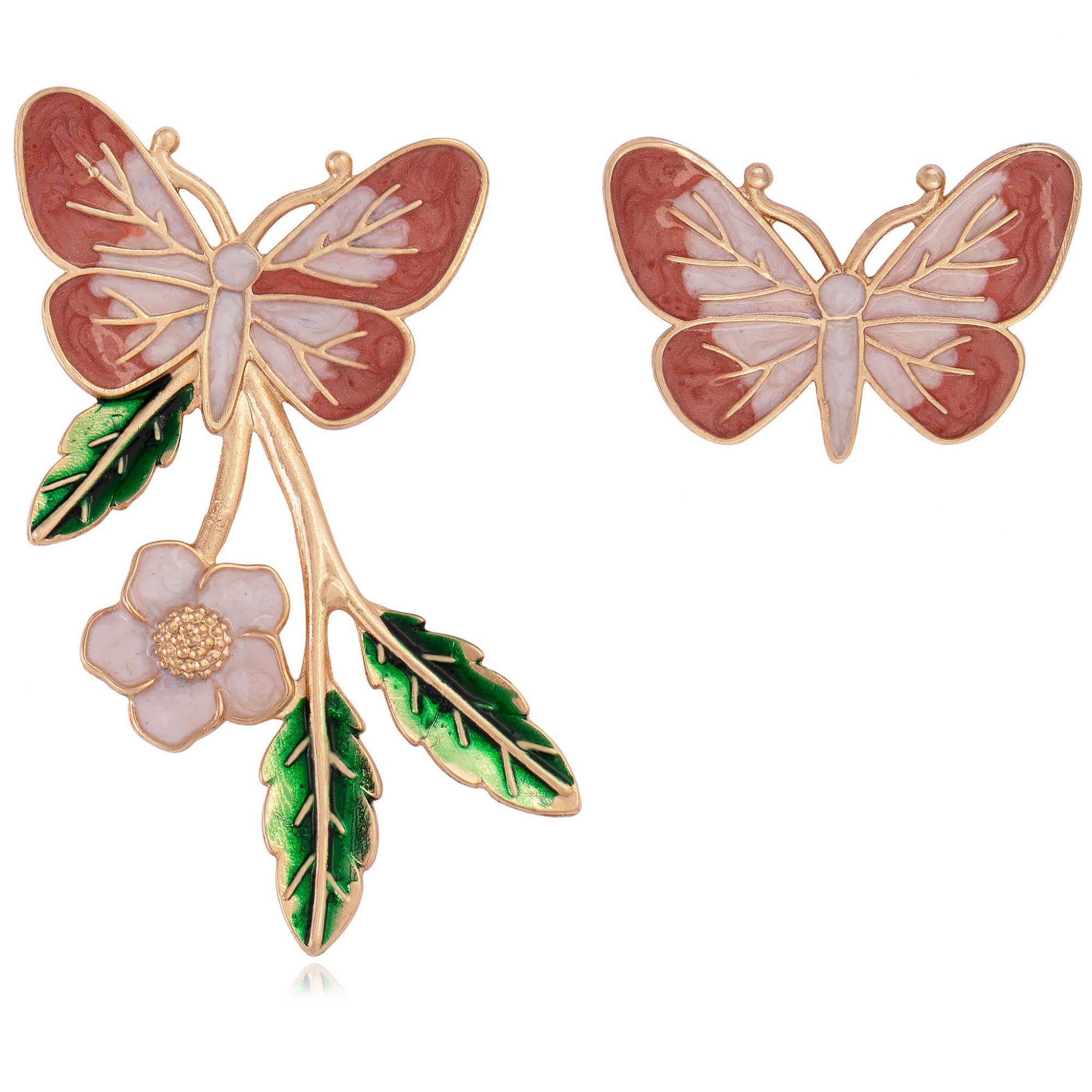 Brinco borboleta banhado a ouro 18k resinado em tons quentes.  - romabrazil.com.br