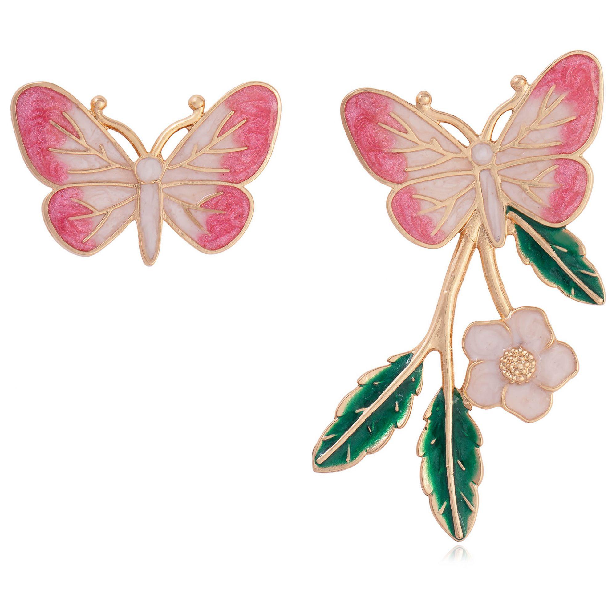 Brinco borboleta banhado a ouro 18k resinado em tons rosa.  - romabrazil.com.br