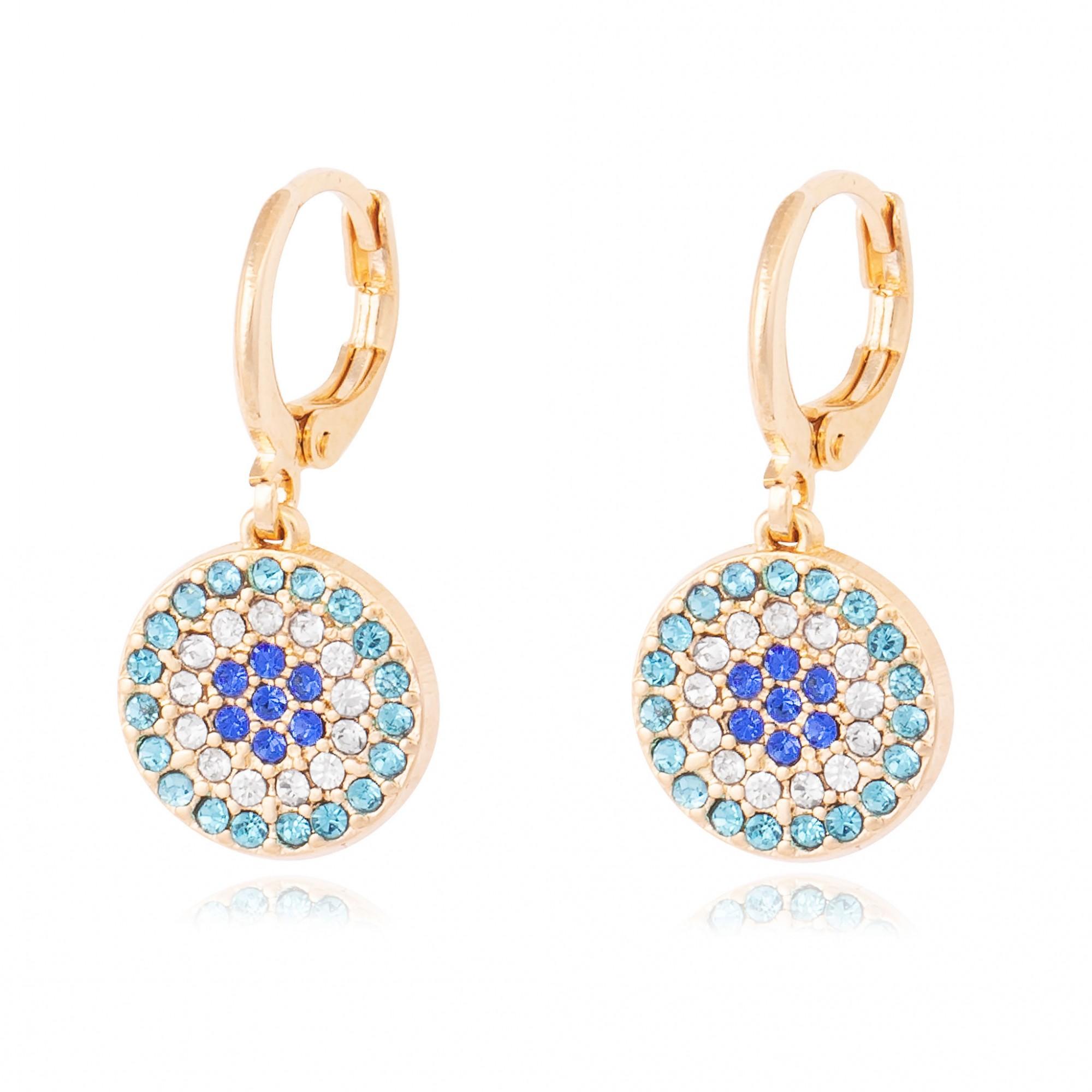 Brinco olho grego de cristais banhado a ouro 18k.  - bfdecor.com.br