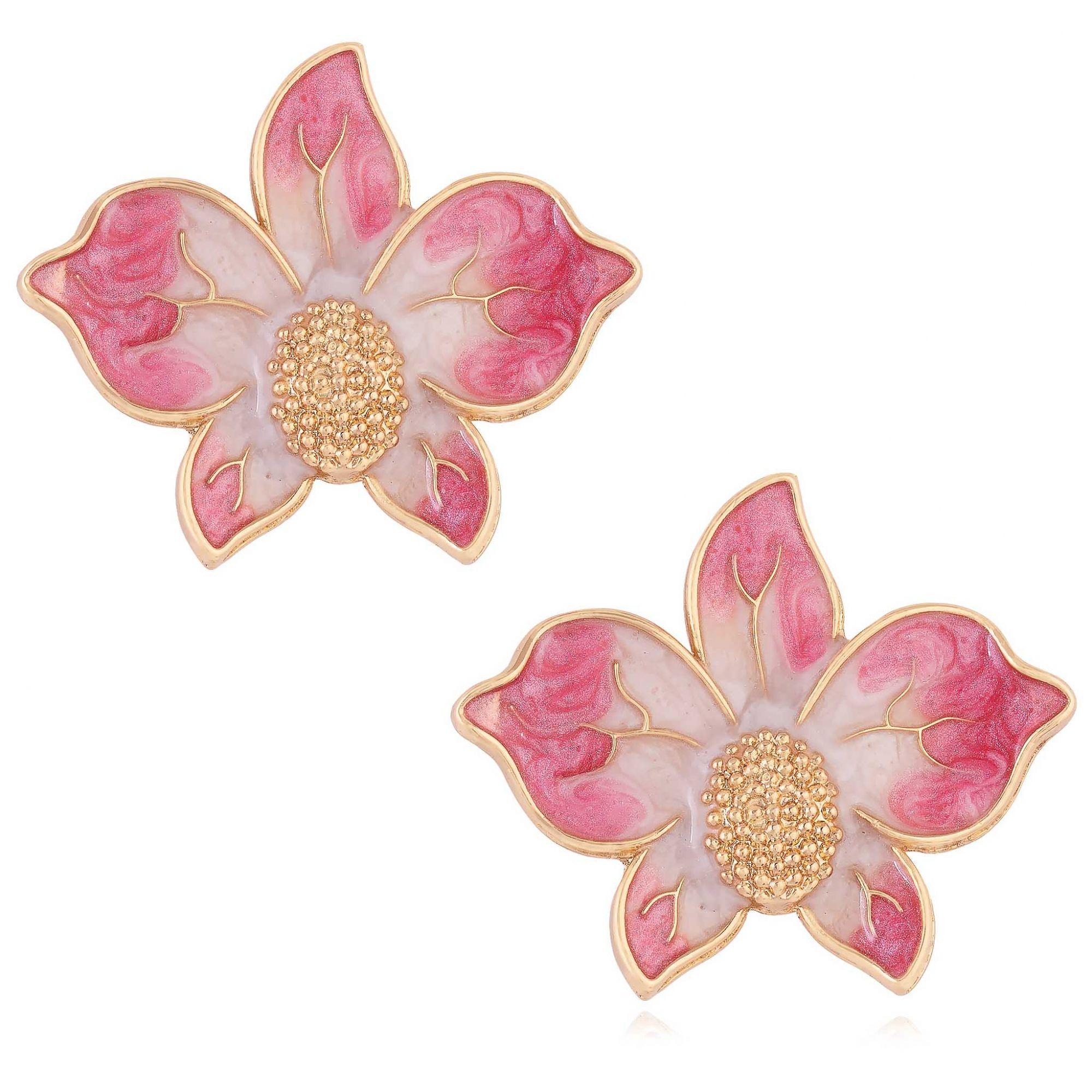Brinco de orquídea banhado a ouro 18k resinado em rose.  - bfdecor.com.br