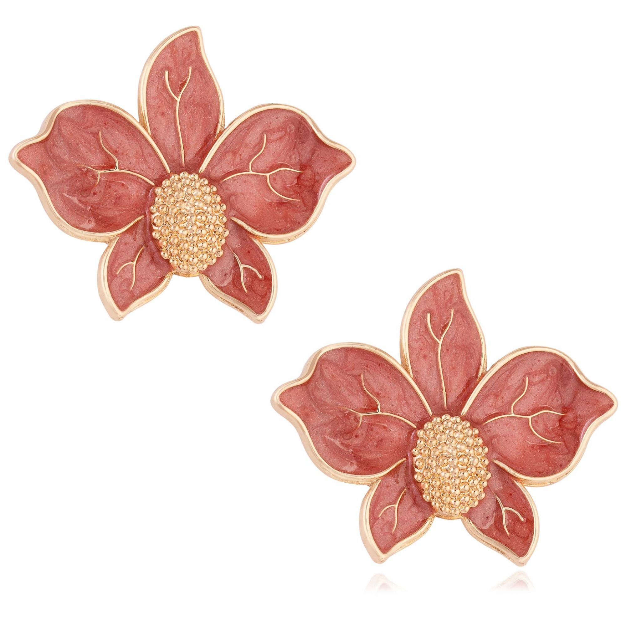 Brinco de orquídea banhado a ouro 18k resinado em terracota.  - romabrazil.com.br