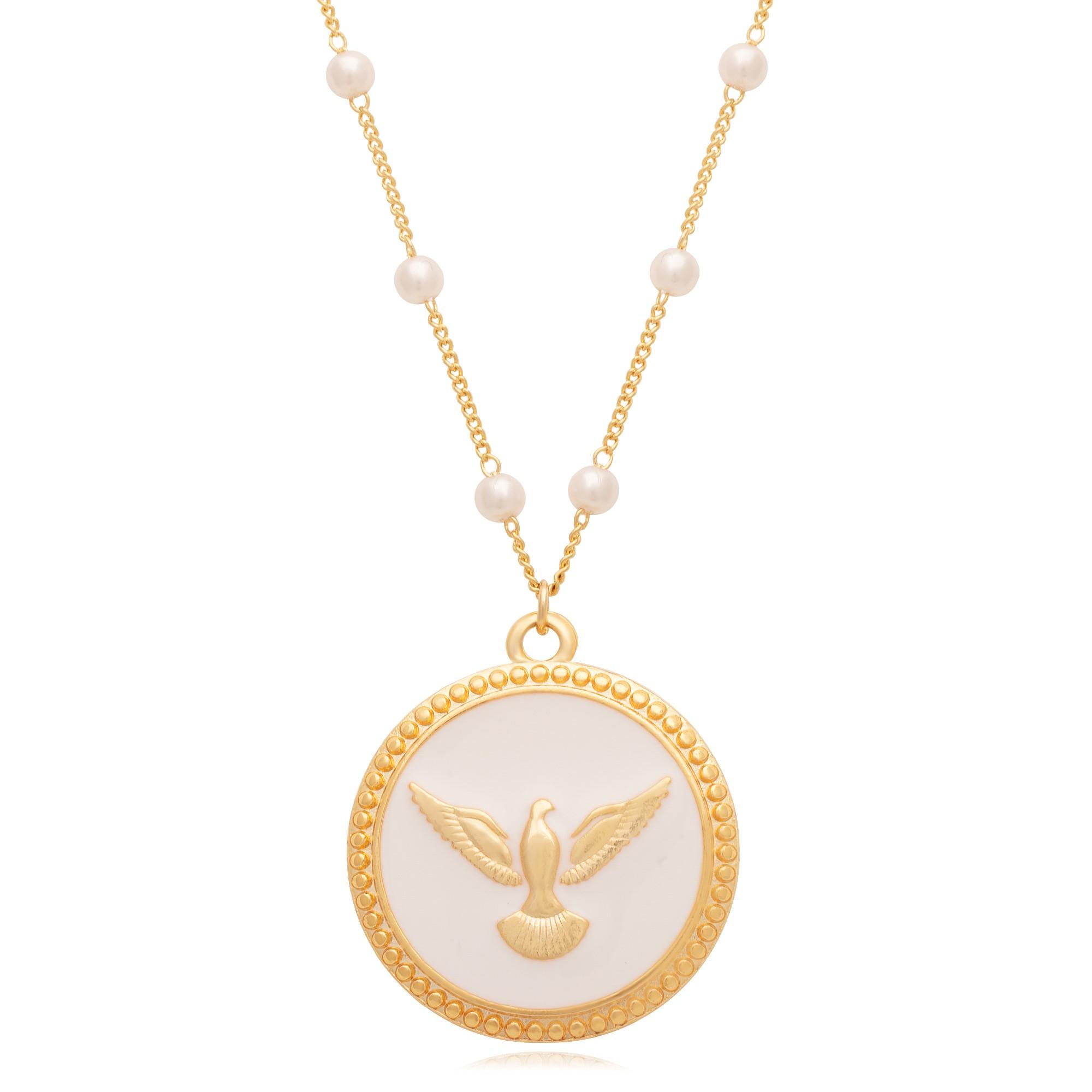 Colar banhado à ouro 18k com pingente de Espirito Santo resinado em madreperola.  - bfdecor.com.br