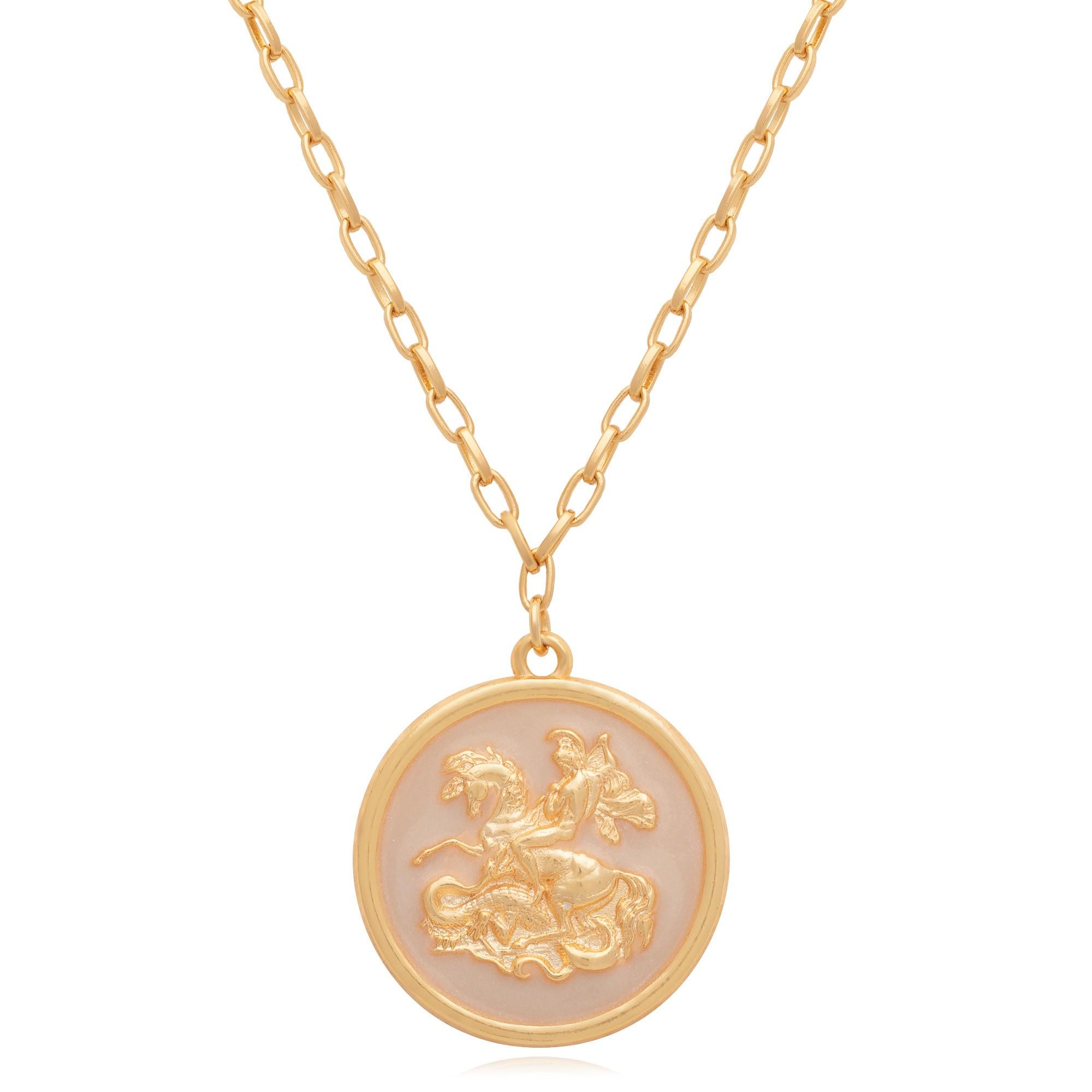 Colar banhado à ouro 18k com pingente de São Jorge resinado em madreperola.  - bfdecor.com.br