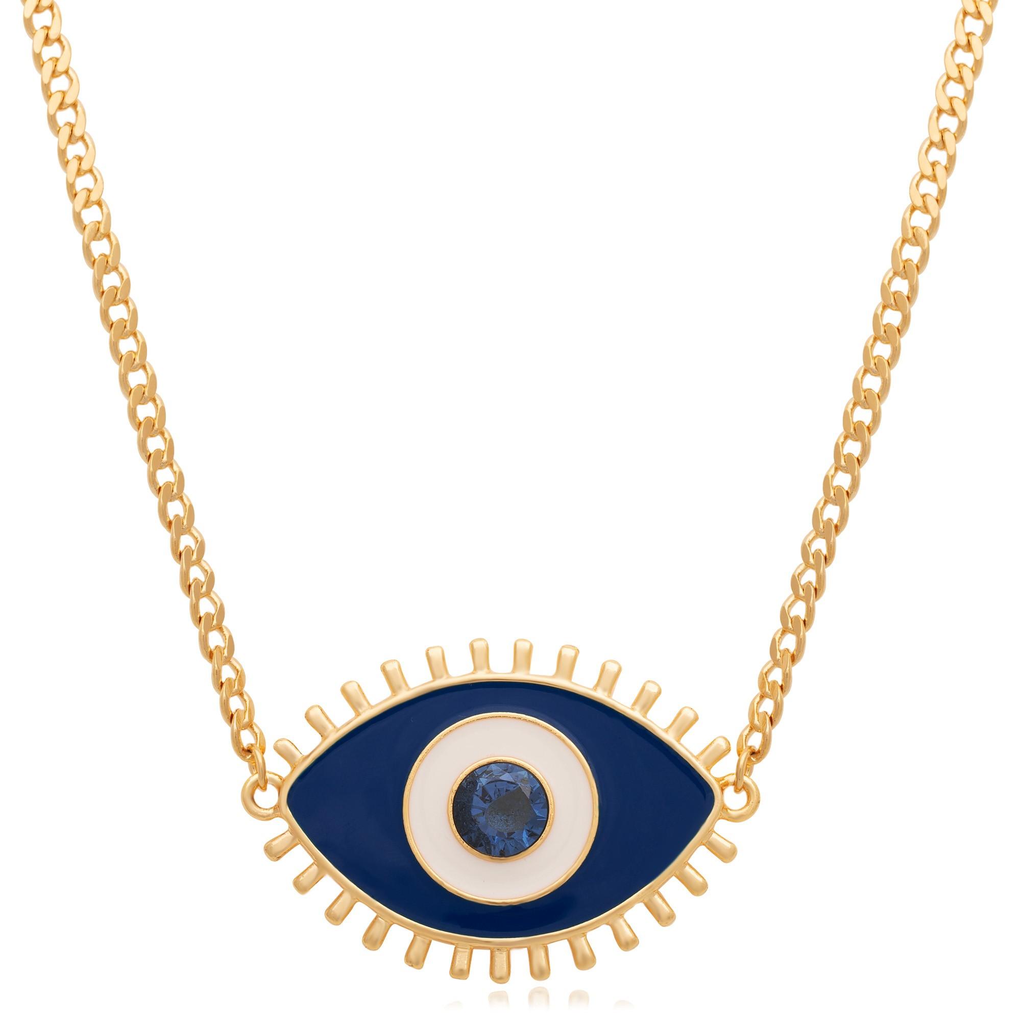 Colar banhado à ouro 18k com pingente olho grego azul.  - bfdecor.com.br