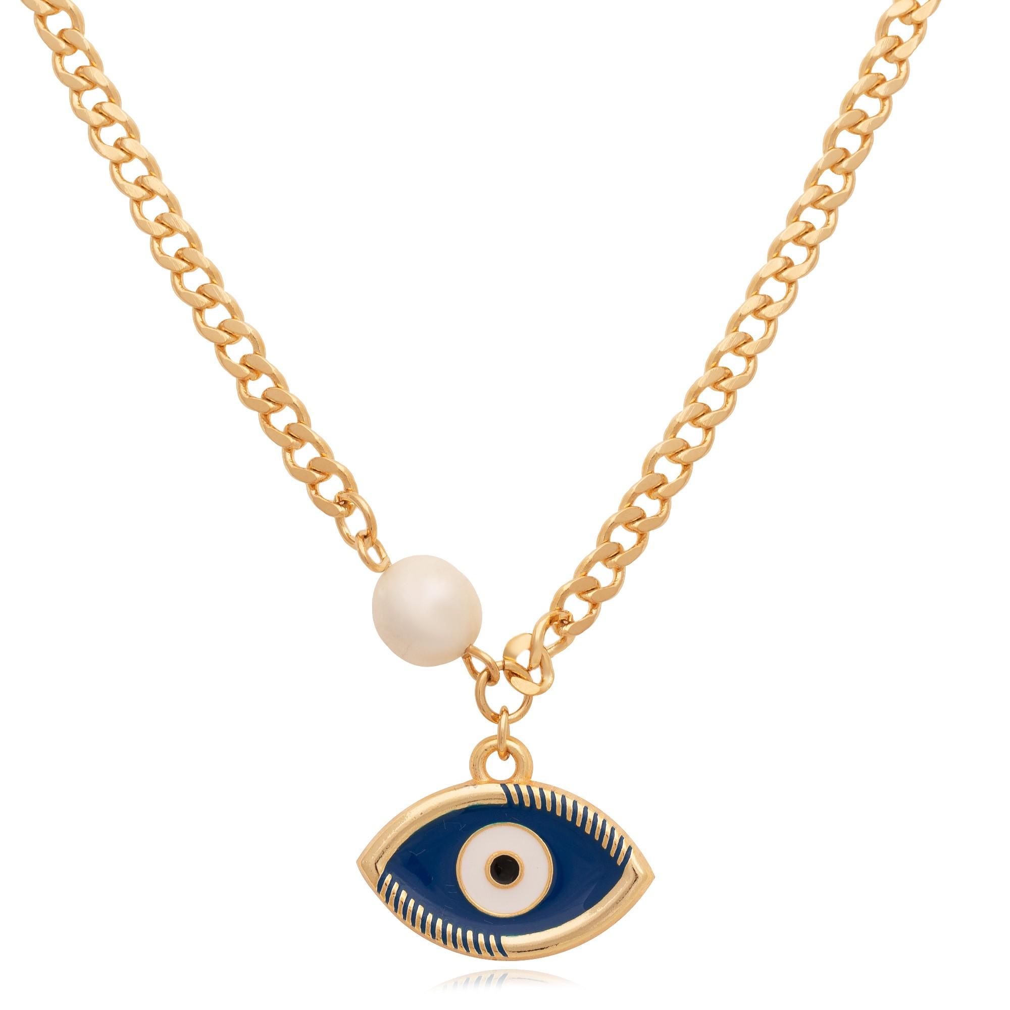 Colar banhado à ouro 18k com pingente olho grego azul e pérola.  - bfdecor.com.br