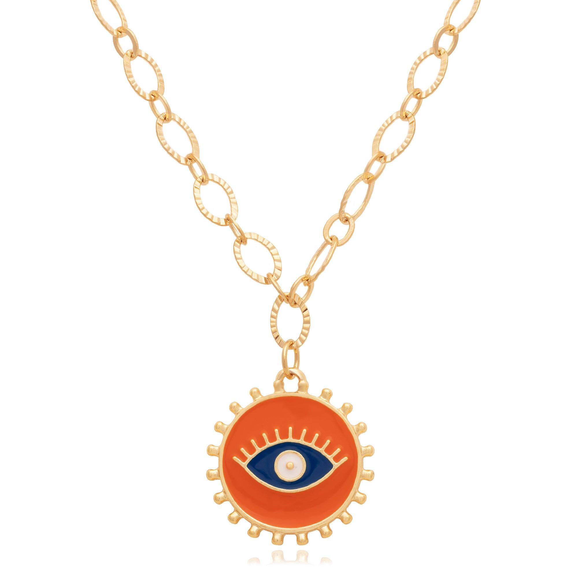 Colar banhado à ouro 18k com pingente olho grego laranja.  - romabrazil.com.br