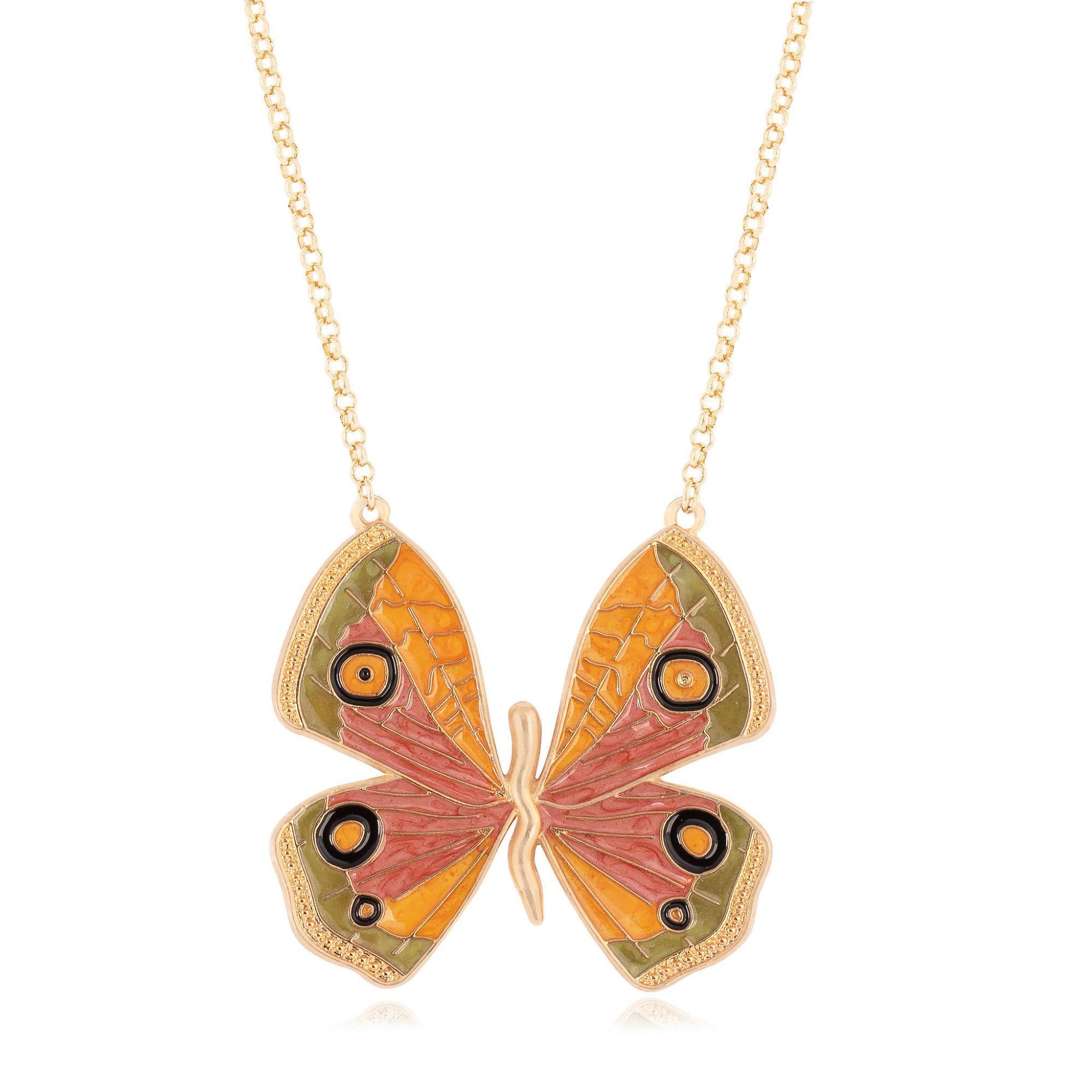 Colar borboleta banhado a ouro 18k resinado em amarelo, terracota e verde.  - romabrazil.com.br