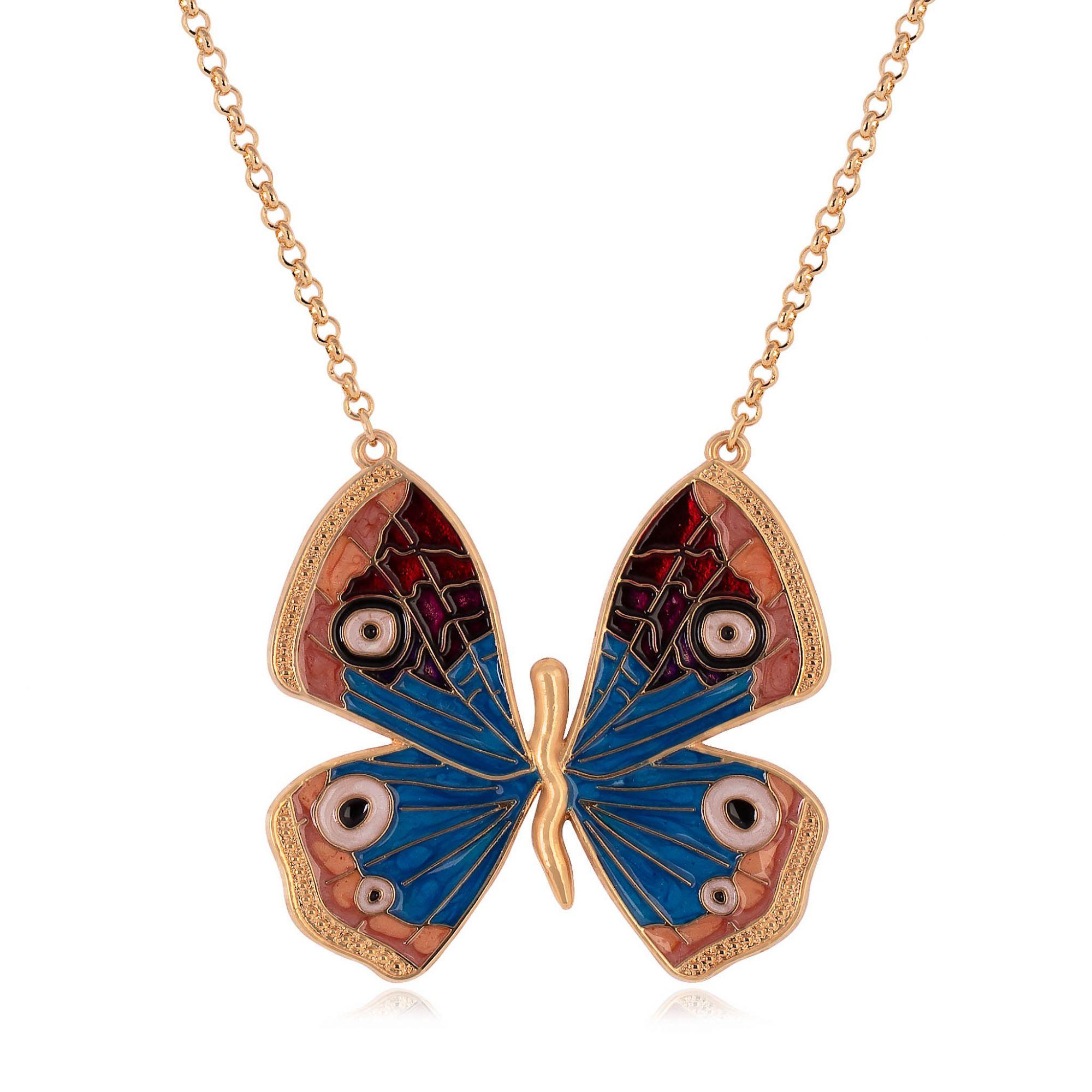 Colar borboleta banhado a ouro 18k resinado em azul e vermelha.  - romabrazil.com.br