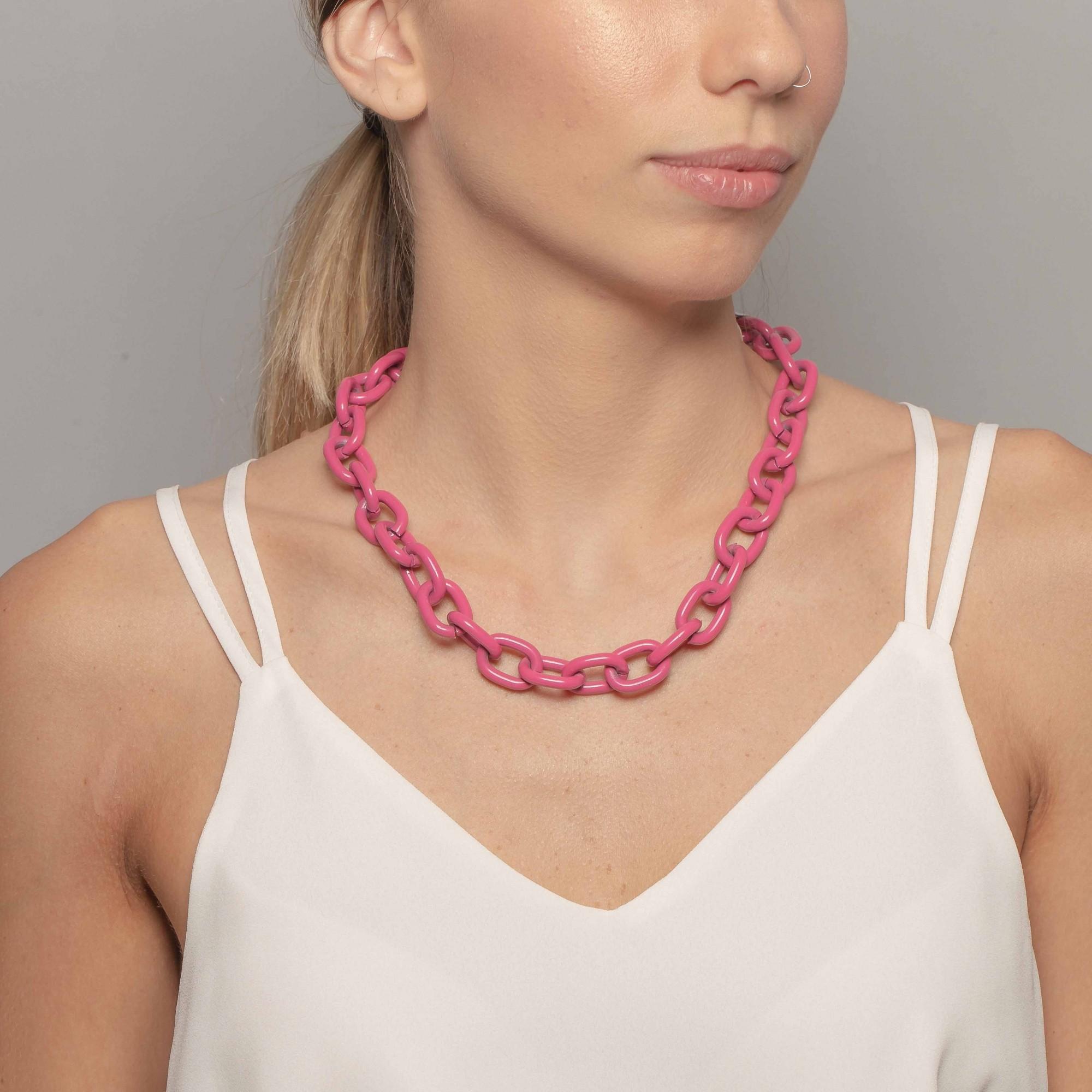 Colar cadeado 50cm na cor pink  - romabrazil.com.br