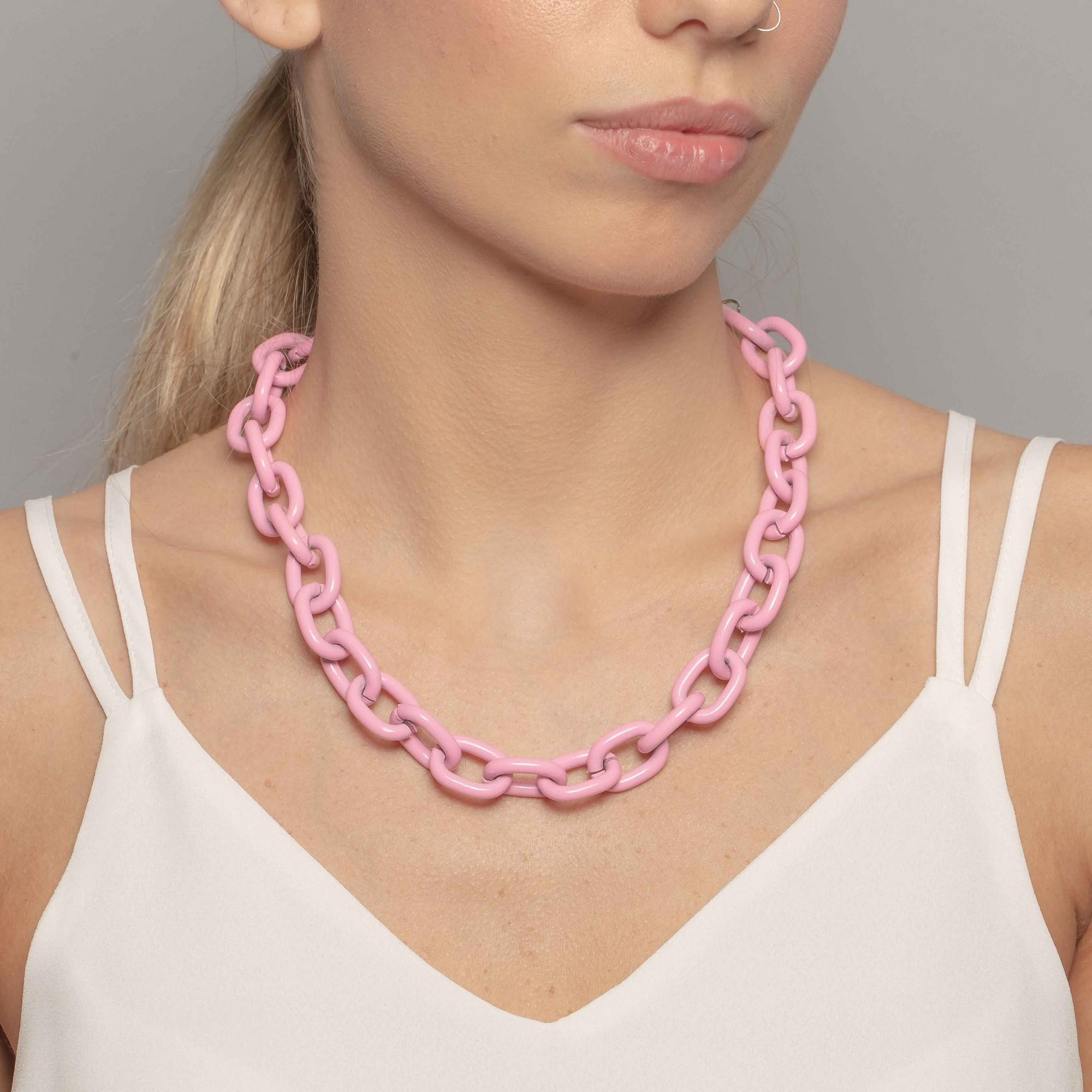 Colar cadeado 50cm na cor rosa bebê  - romabrazil.com.br
