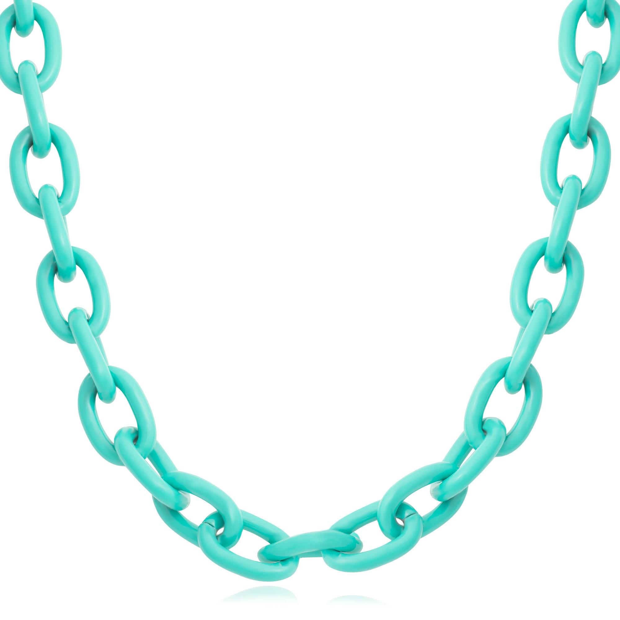 Colar cadeado 50cm na cor verde água  - romabrazil.com.br