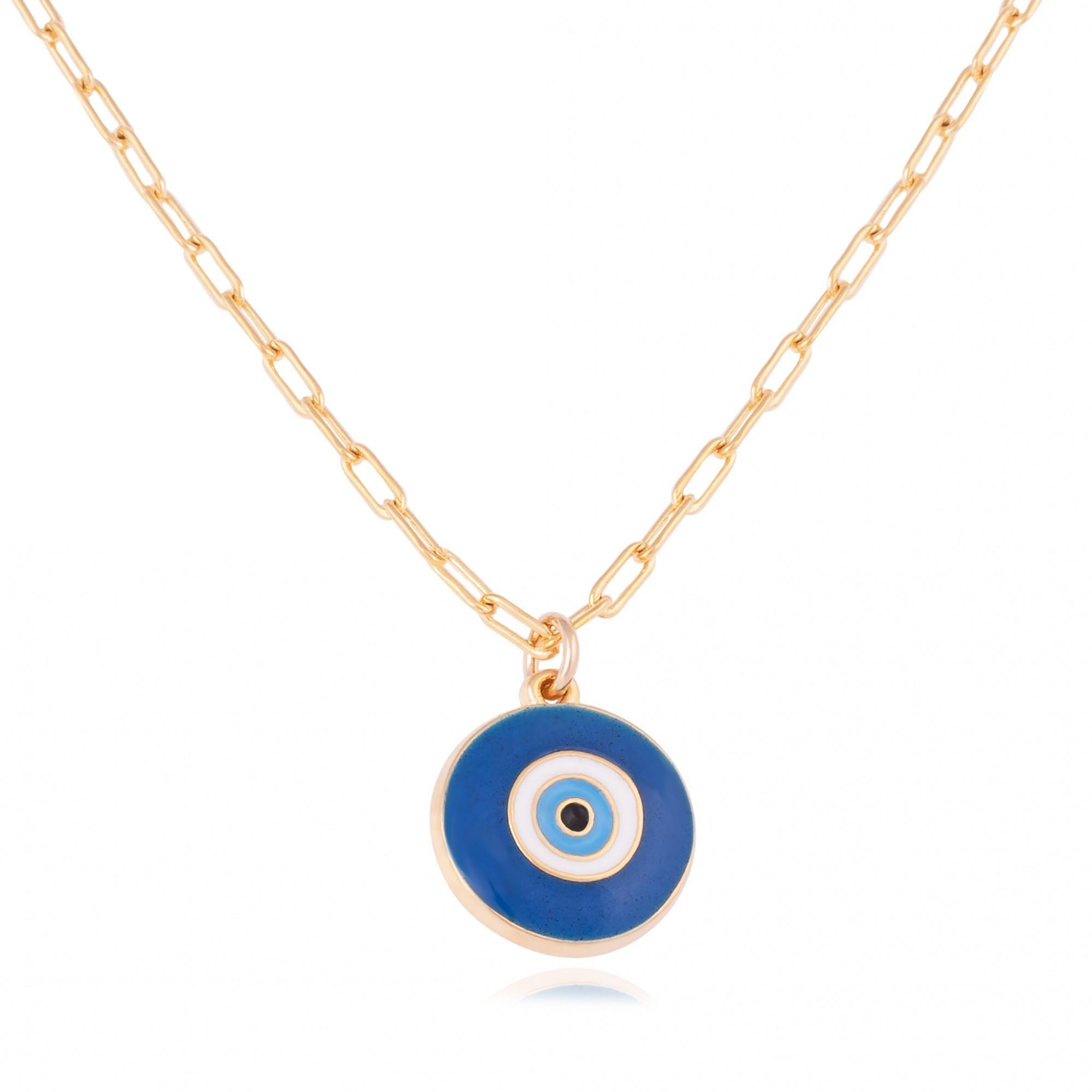 Colar cartier olho grego de resina banhado a ouro 18k.  - romabrazil.com.br