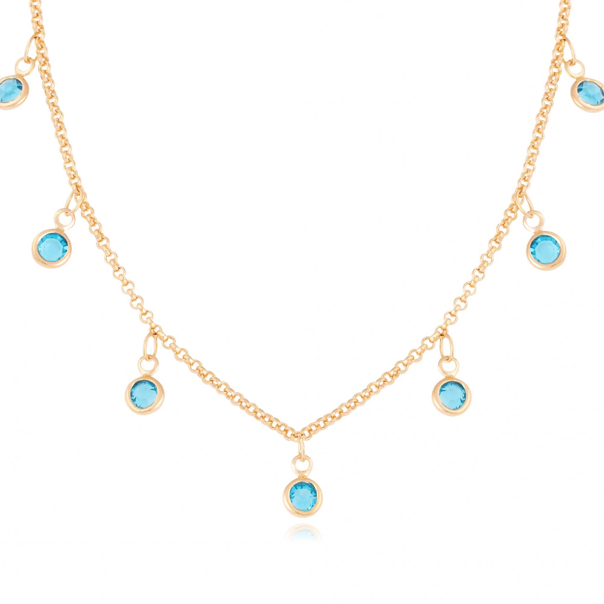 Colar choker com cristais azuis banhado a ouro 18k.  - romabrazil.com.br