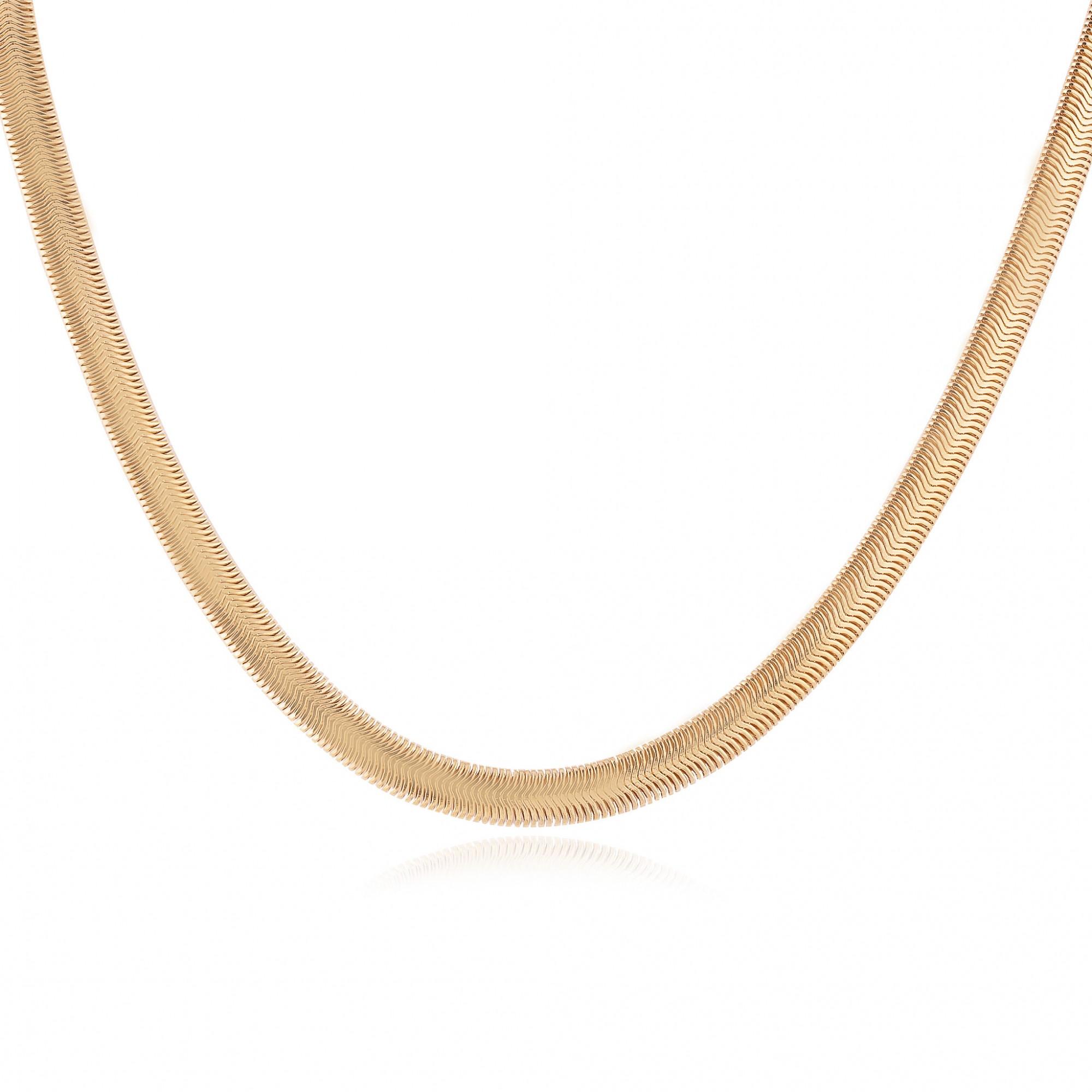 Colar choker esteira banhado a ouro 18k.  - bfdecor.com.br