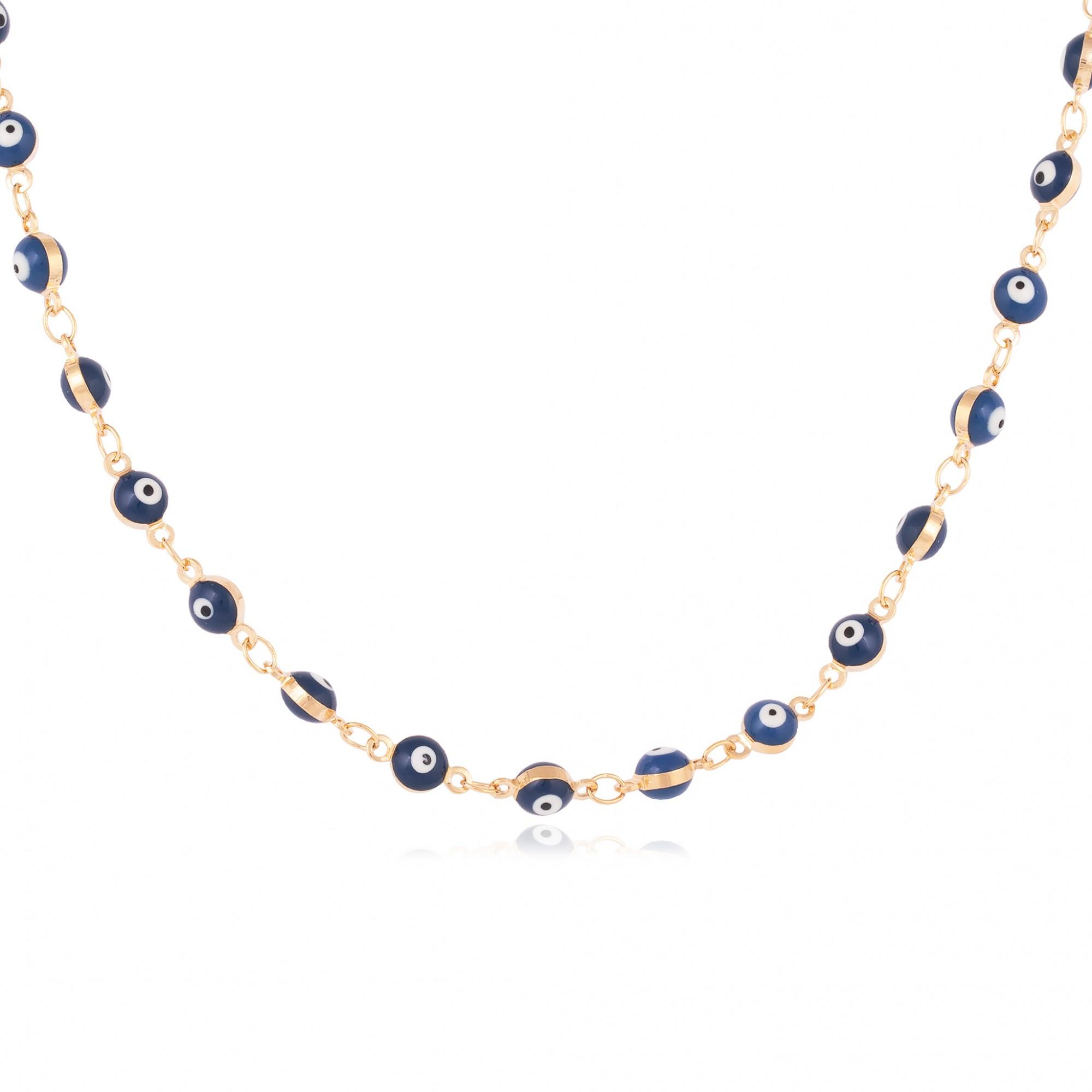 Colar choker olho grego azul escuro banhado a ouro 18k.  - romabrazil.com.br