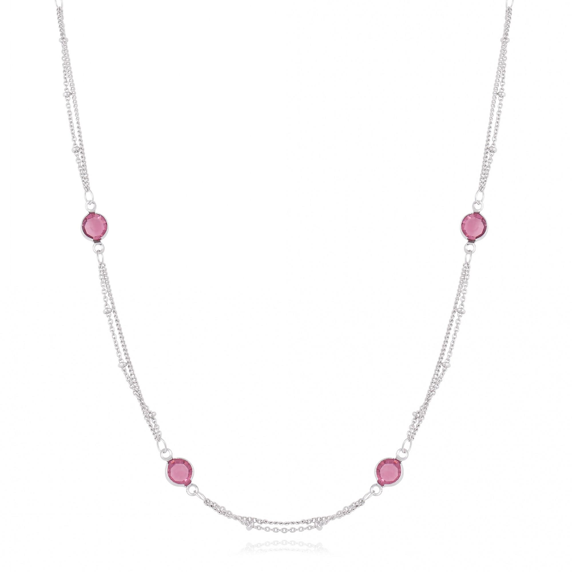 Colar com cristais roxos banho de ródio branco.  - romabrazil.com.br
