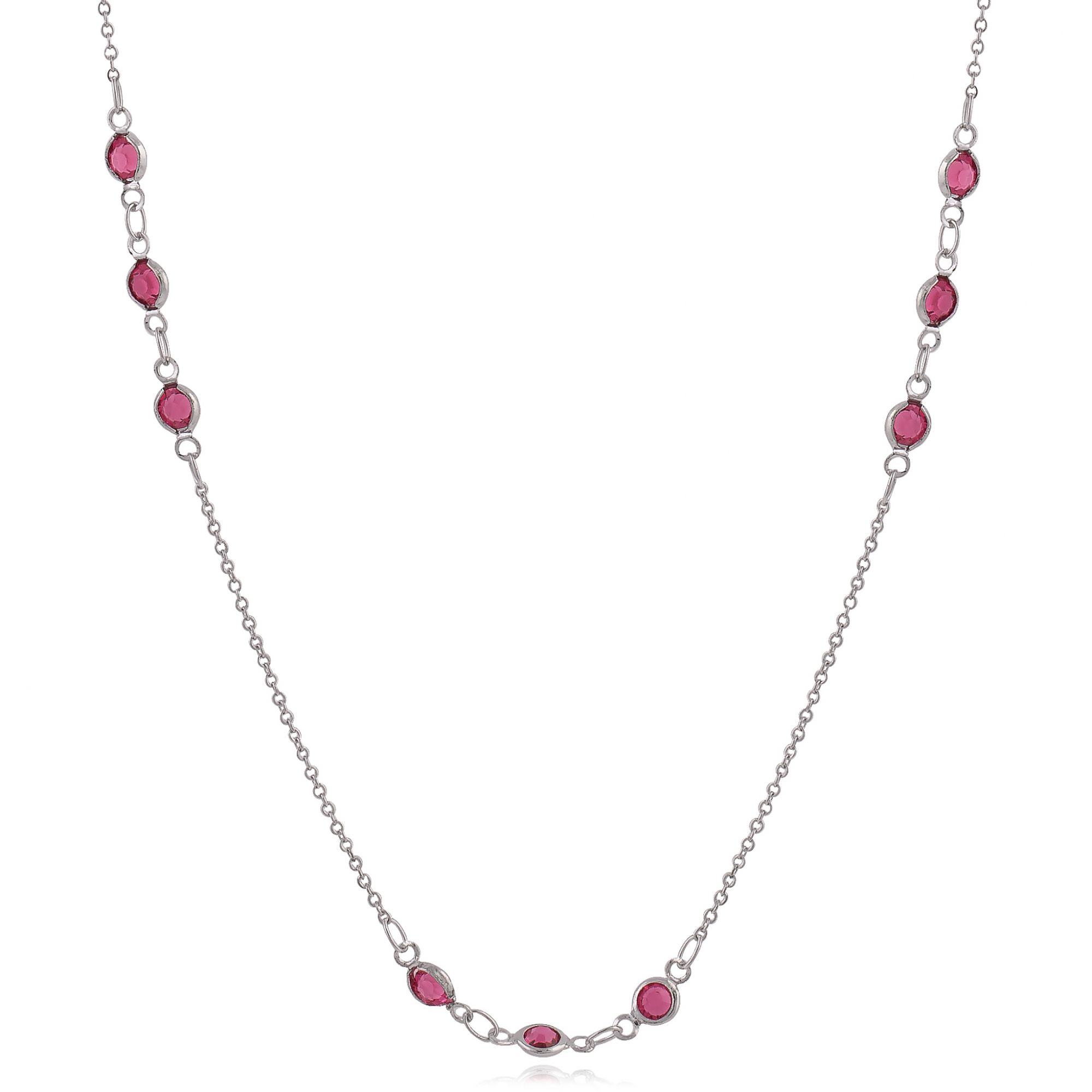 Colar com cristais rubis banho de ródio branco.  - romabrazil.com.br