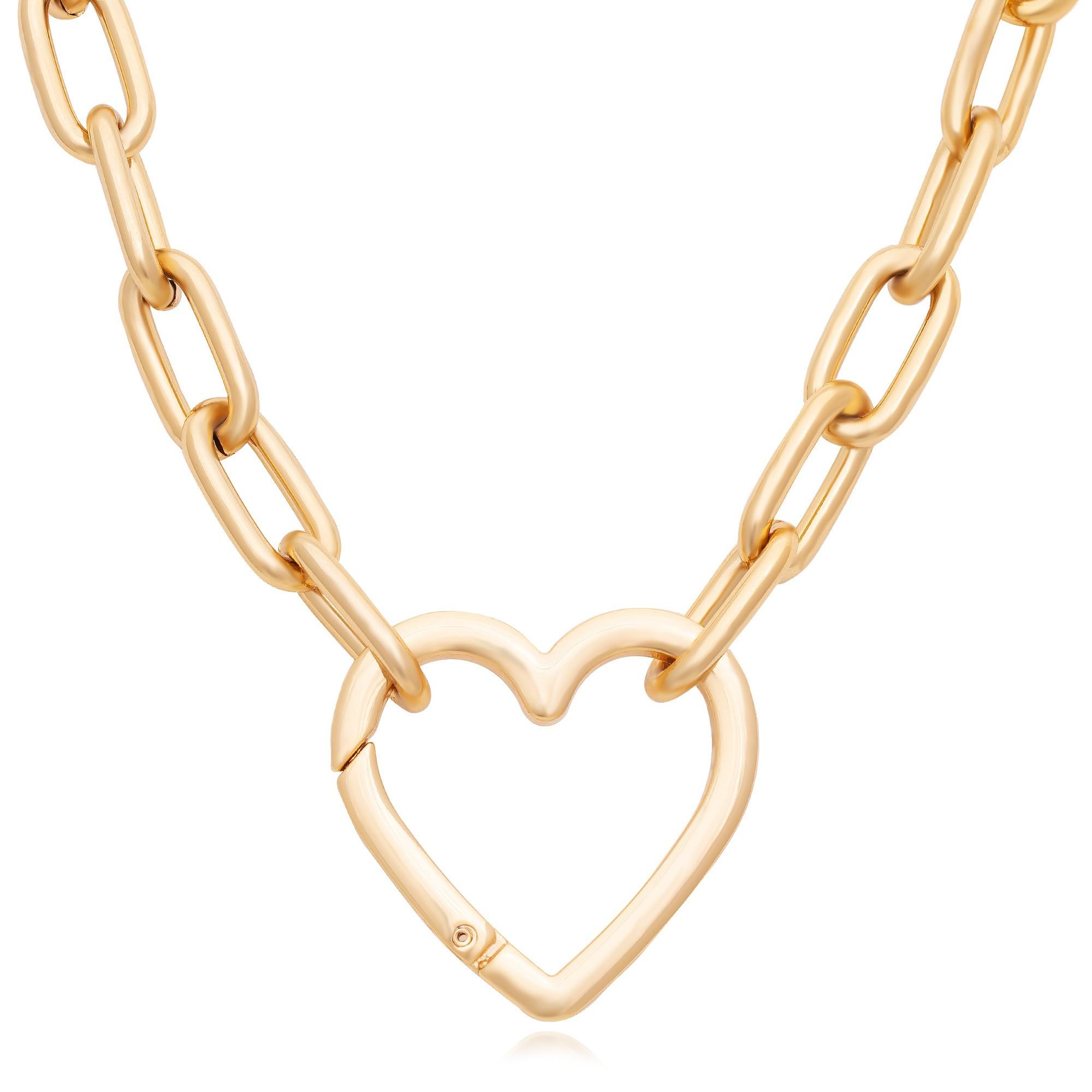 Colar com fecho de coração verniz dourado  - romabrazil.com.br