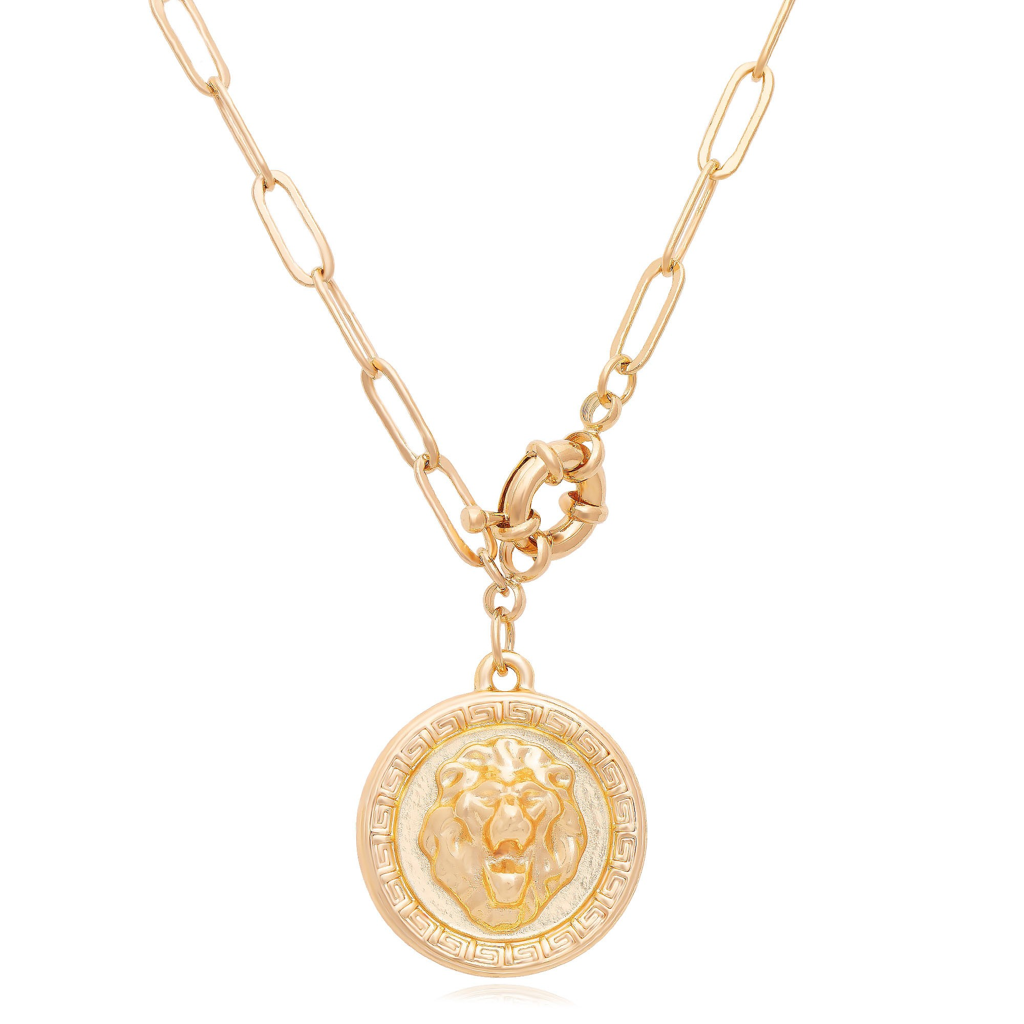 Colar com mandala de leão banhado a ouro 18K  - romabrazil.com.br