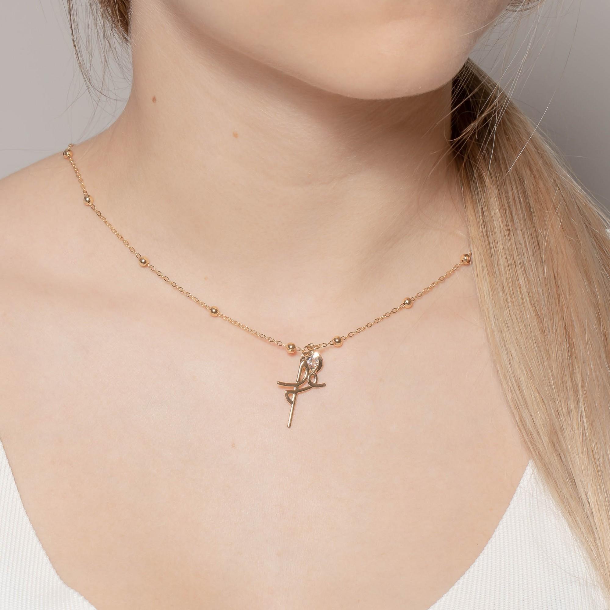 Colar com pendente fé e zircônia banhado a ouro 18k.  - romabrazil.com.br