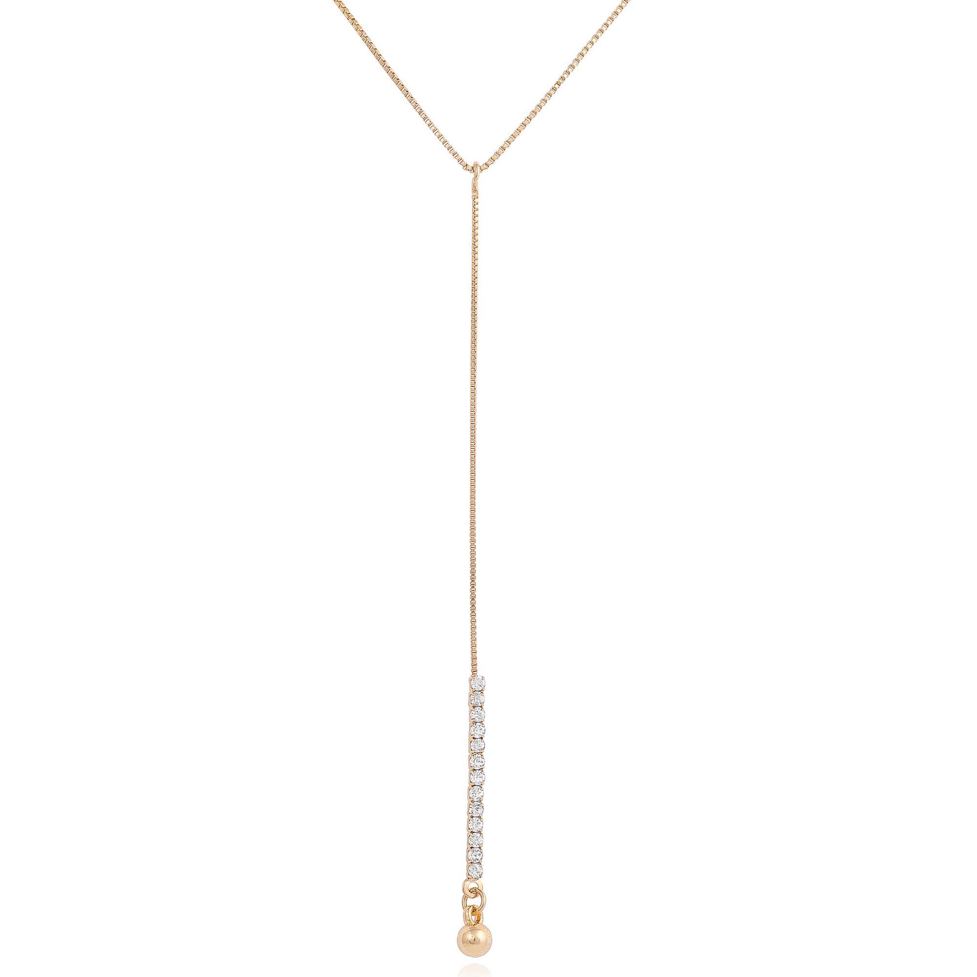 Colar com pendente gravata banhado a ouro 18k.  - bfdecor.com.br