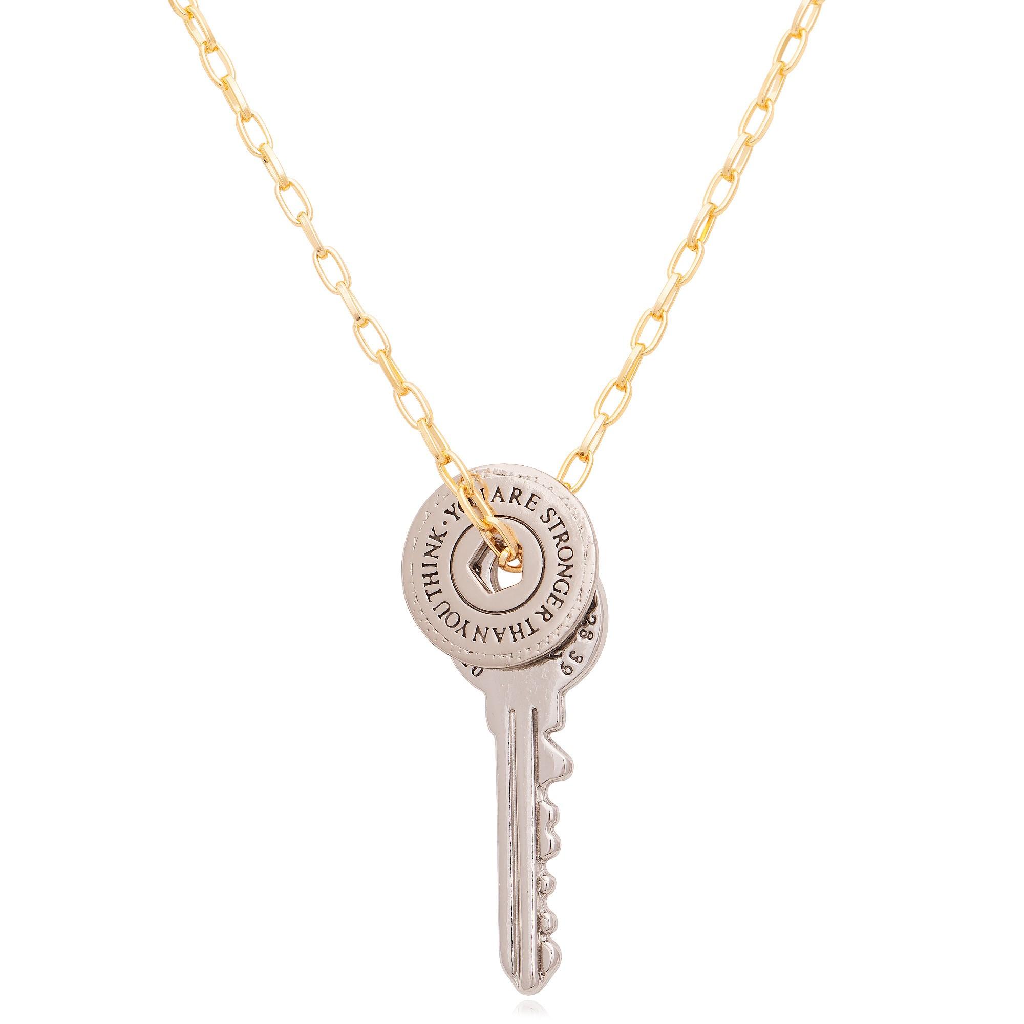 Colar com pingente chave banhado a ouro 18K  - bfdecor.com.br