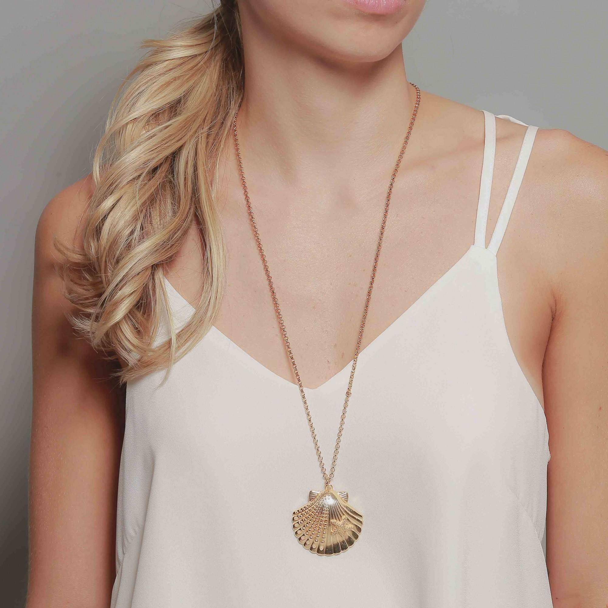 Colar concha banhado à ouro 18k  - romabrazil.com.br