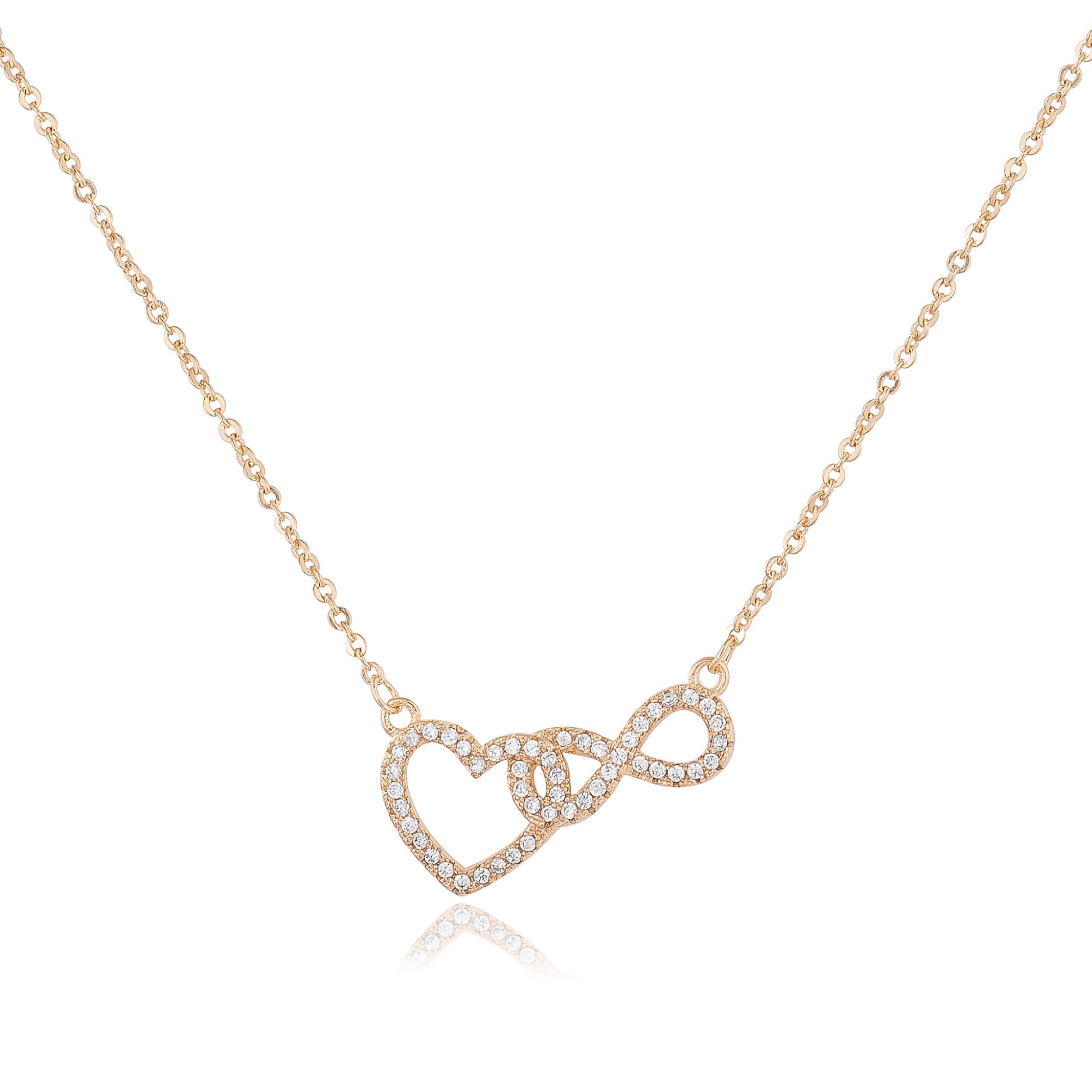 Colar coração e infinito entrelaçados com micro zircônias cristais banhado a ouro 18k.  - bfdecor.com.br
