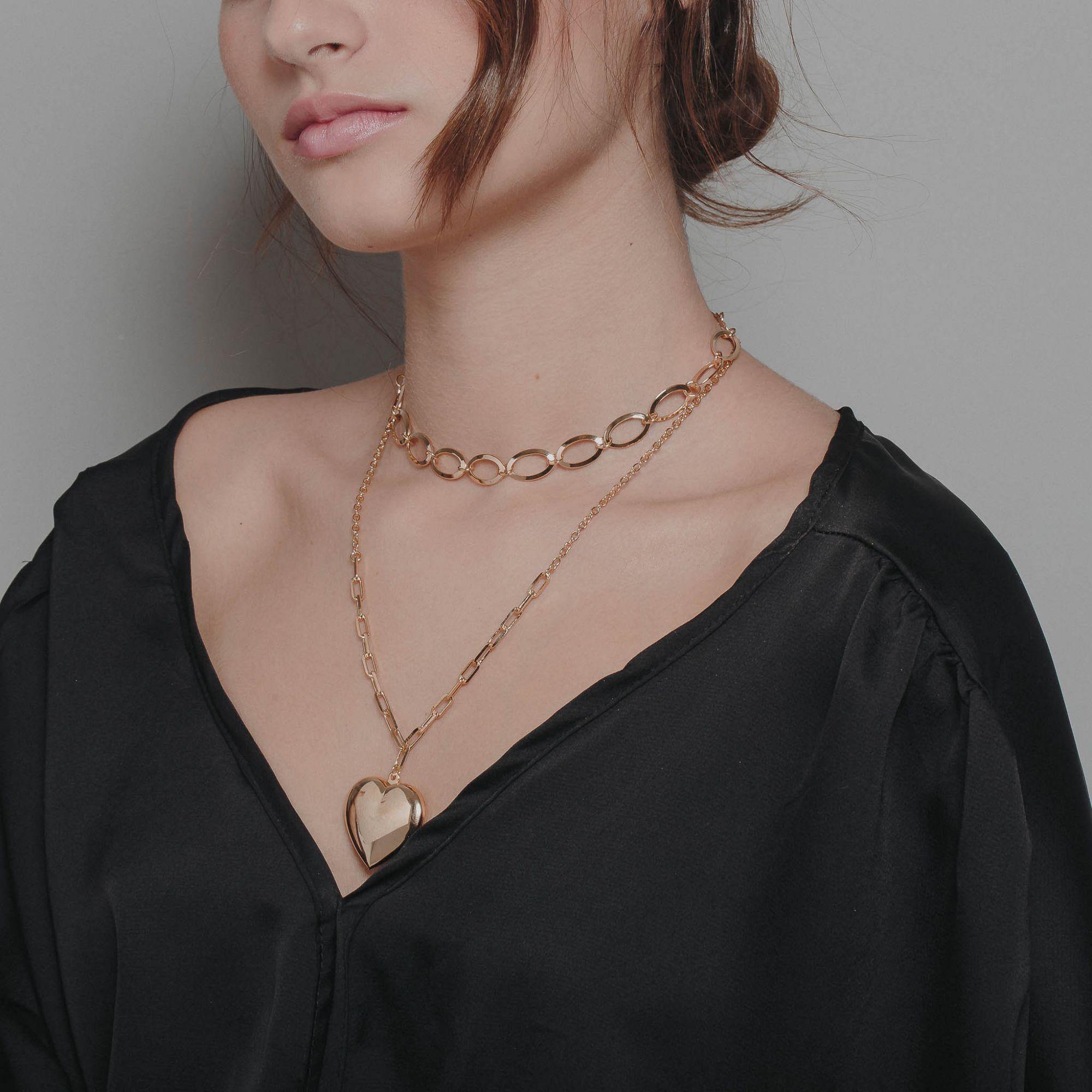 Colar correntaria com pendente liso de coração banhado a ouro 18k.  - bfdecor.com.br