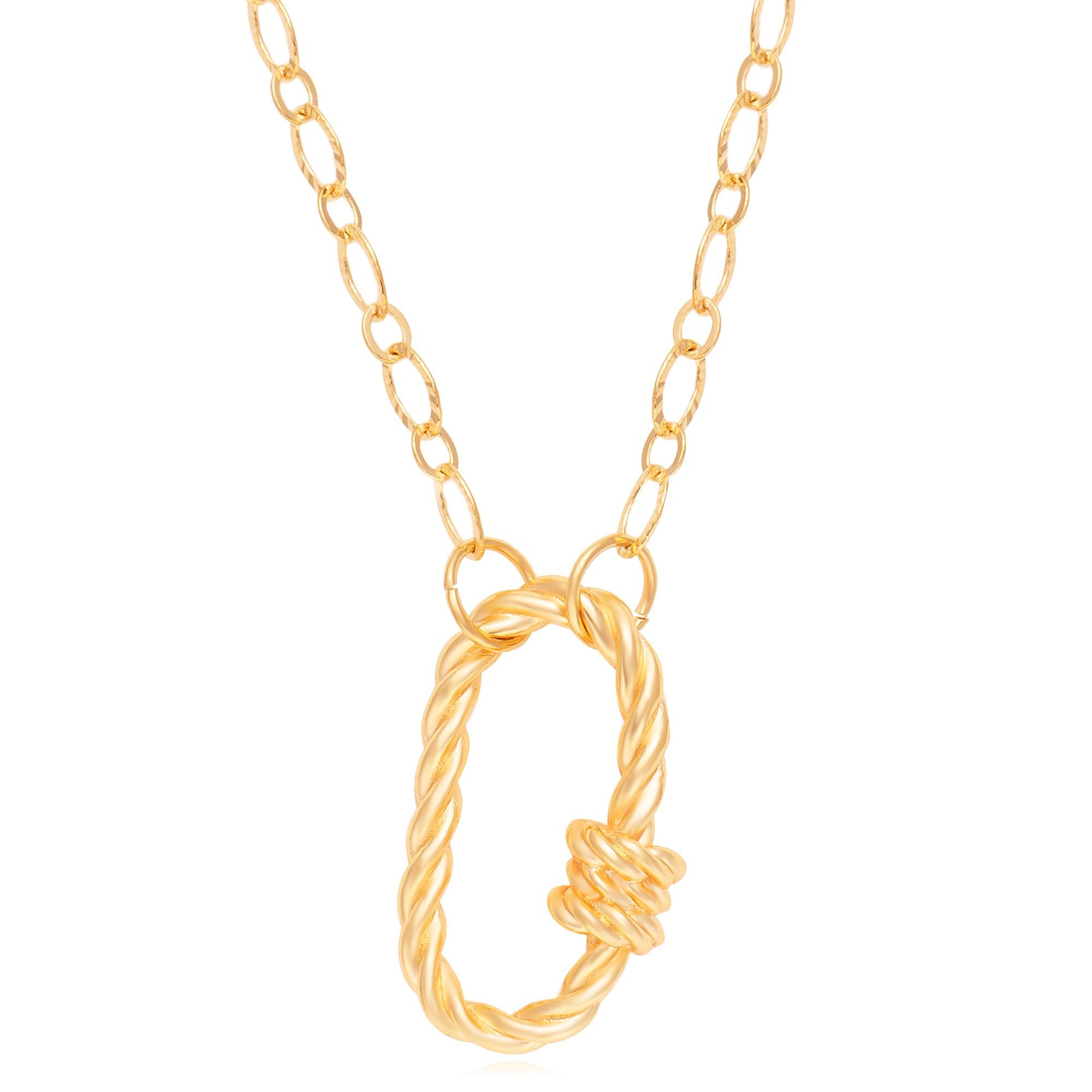 Colar corrente 45cm pendente oval banhado a ouro 18k  - romabrazil.com.br