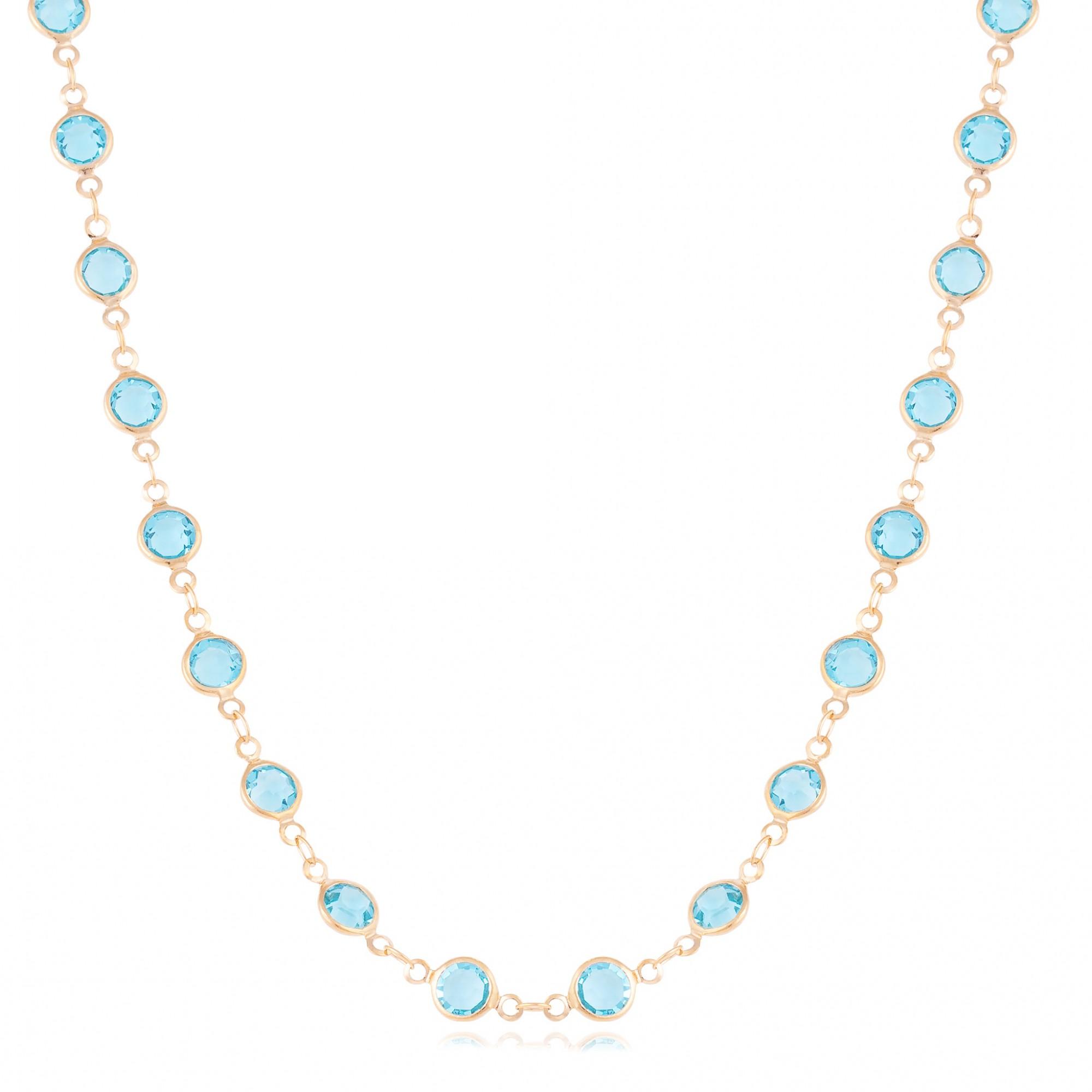 Colar cristais azuis banhado a ouro 18k.  - romabrazil.com.br