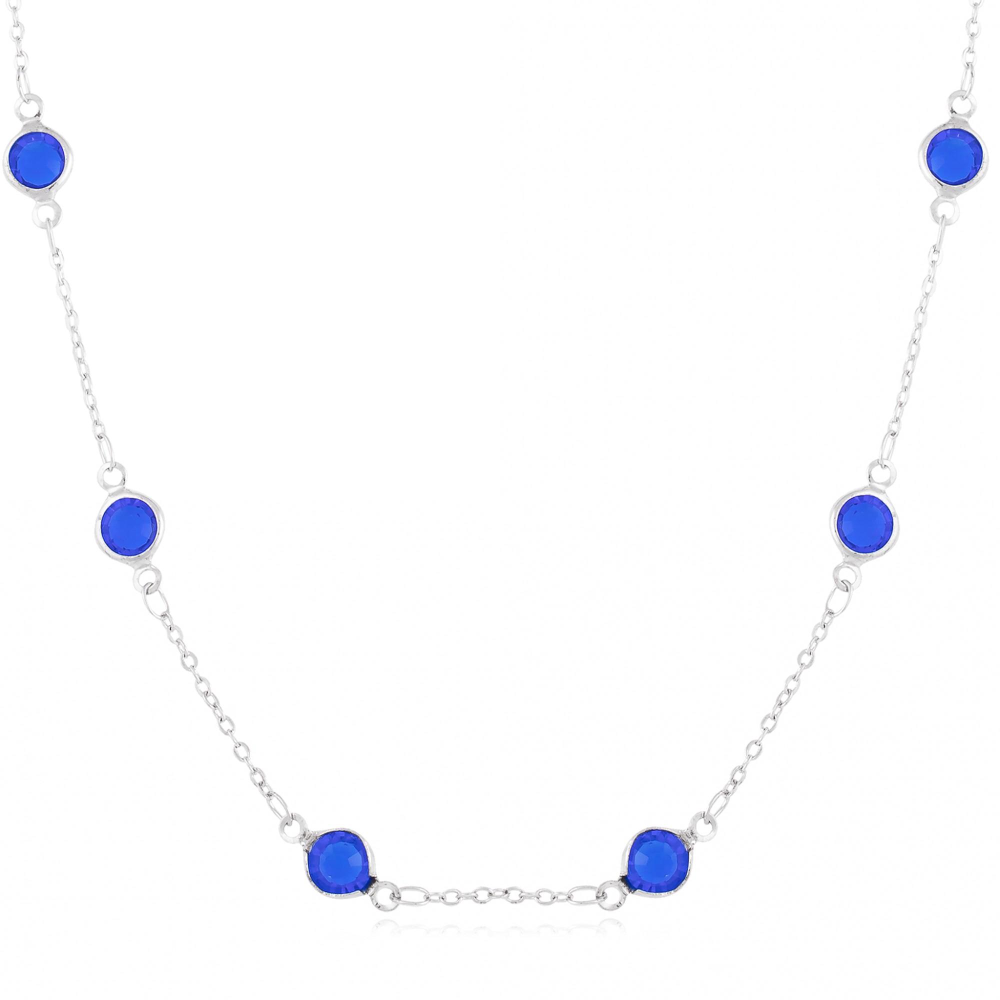 Colar cristais azul banho de ródio branco.  - romabrazil.com.br