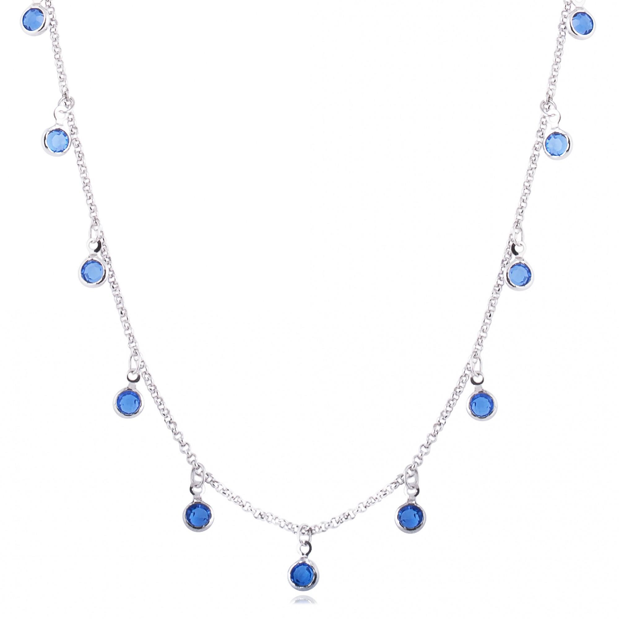 Colar cristais pendentes azuis banho de ródio branco.  - bfdecor.com.br